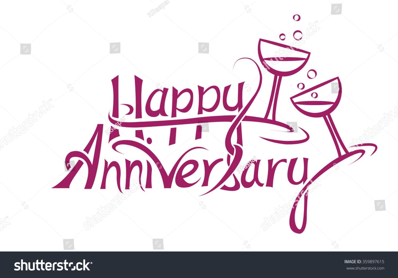 Happy Anniversary Sign Letter Design Stock Vector