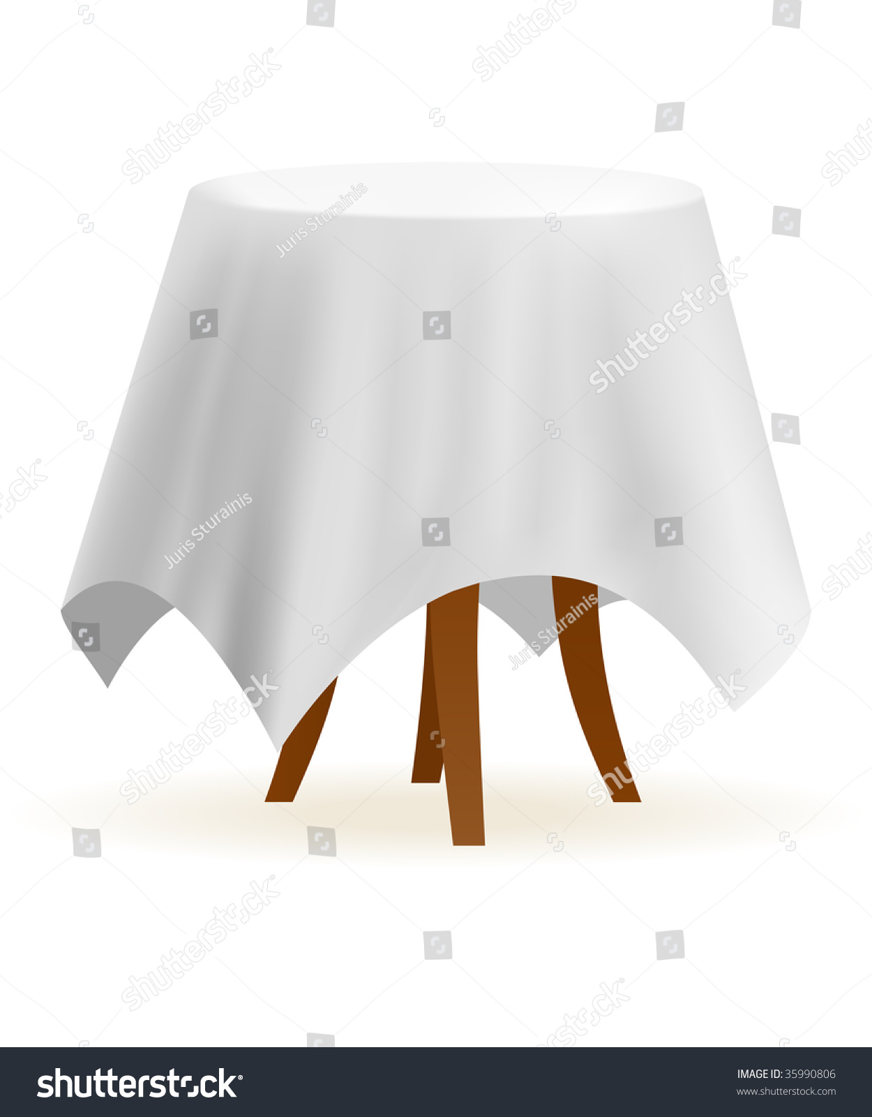 Table Cloth For Round Table Small Round Vector Cafe Table White Stock Vector 35990806