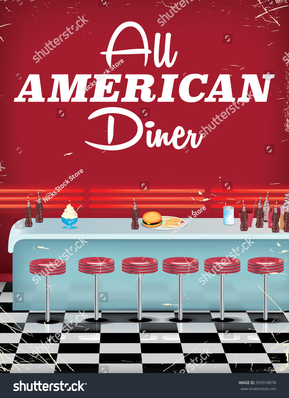 All american diner this is a worn and vintage poster of a for Diner artwork
