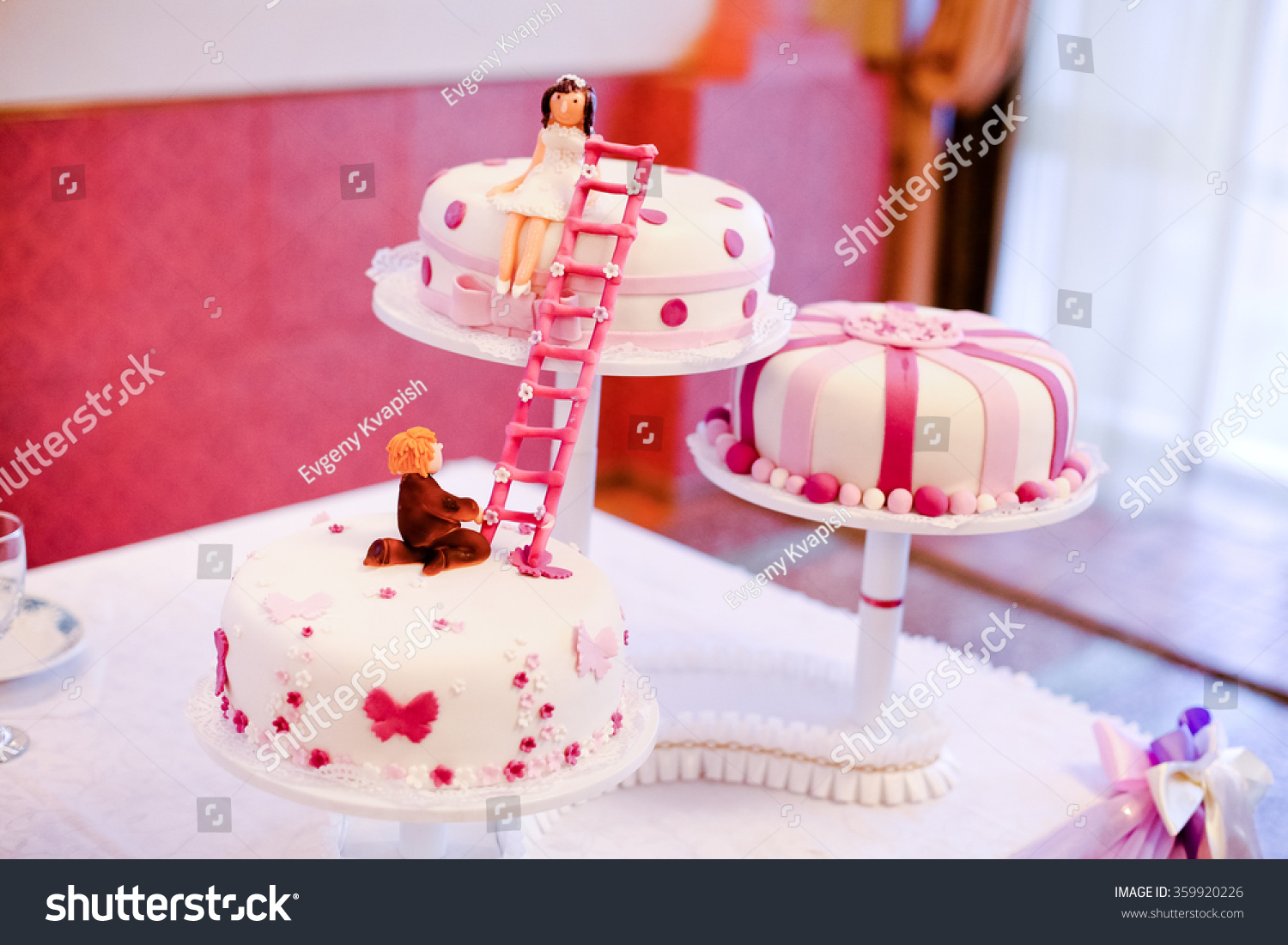 Royalty-free Wedding cake round pink and white with… #359920226 ...