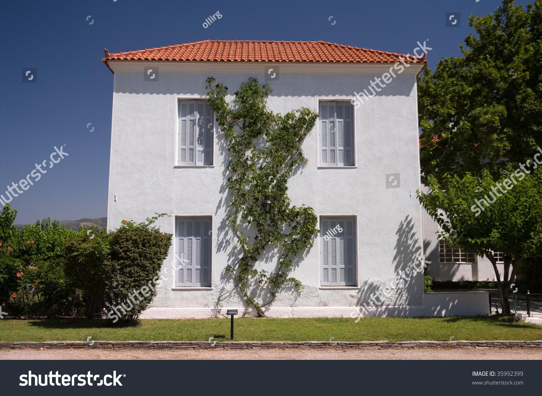 Traditional European House With Garden In Greece Stock