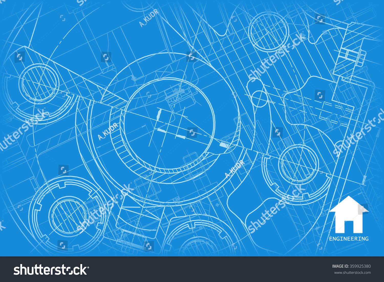 Vector Technical Blueprint Mechanism Engineer Illustration Stock Vector 359925380