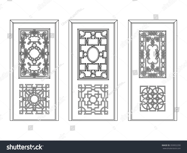 Door Glass Vintage And Iron Works Vector Design Different Variant
