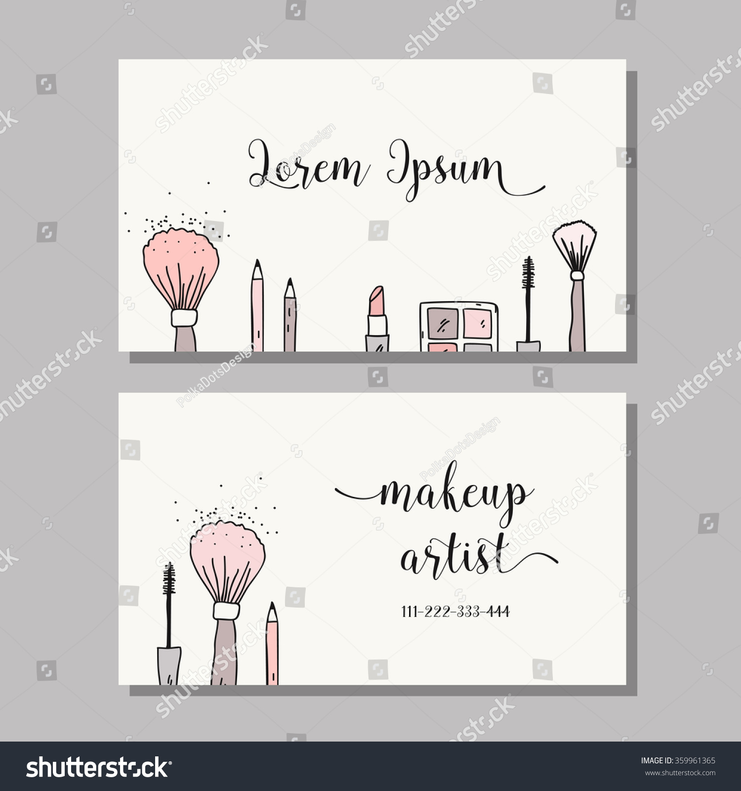 Makeup artist business card vector template stock vector royalty makeup artist business card vector template with makeup items pattern brush pencil colourmoves