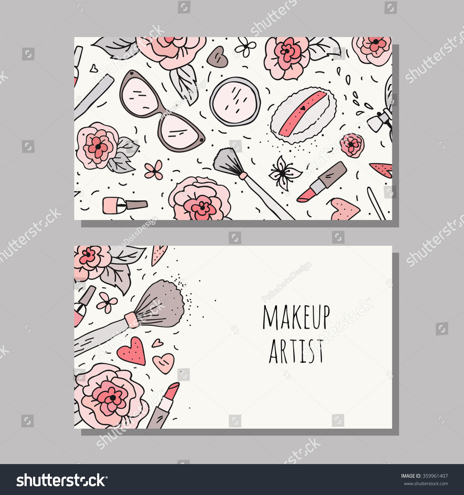 Business card template makeup artist vector stock vector 359961407 business card template for a makeup artist vector layout with hand drawn flowers and makeup alramifo Image collections