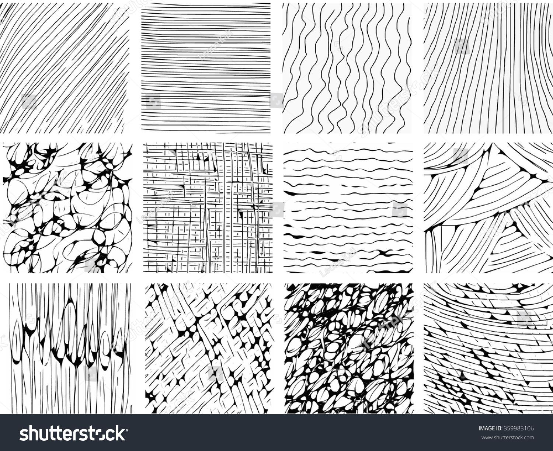 Line Texture Design : Hand drawn vector line textures set stock