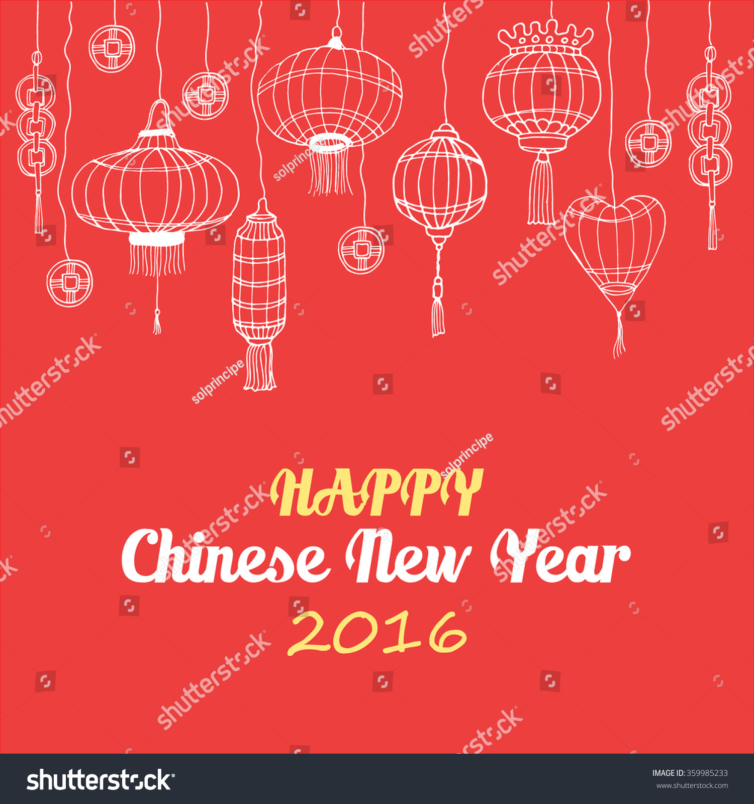 Happy Chinese New Year Postcard Golden Stock Vector 359985233 ...