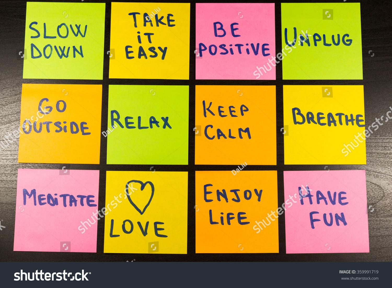 Slow Down Relax Take Easy Keep Stockfoto (Lizenzfrei) 359991719 ...
