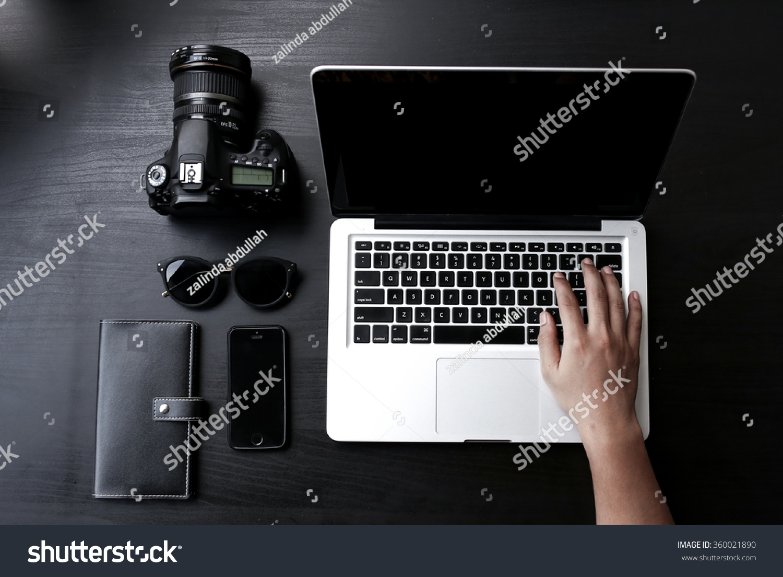- Laptop Desk Minimalist Setup Stock Photo (Edit Now) 360021890