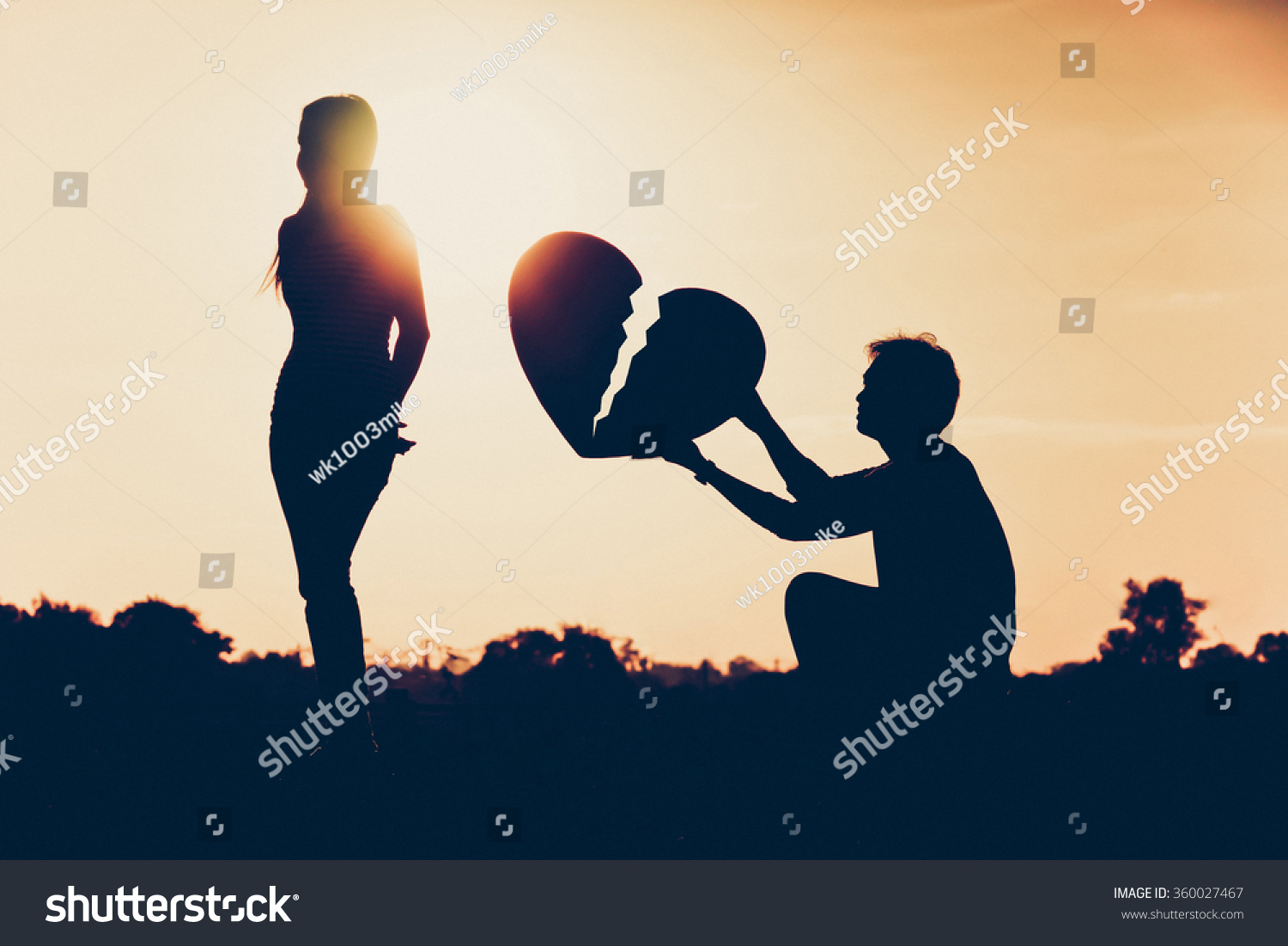 One Side Love Pic: Broken Heart Onesided Love Difficult Love Stock Photo