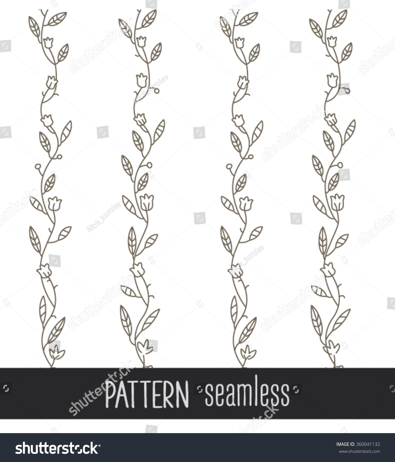 Vector Seamless Branch Plant Pattern Texture Wallpaper Background Drawing Flowers Chain