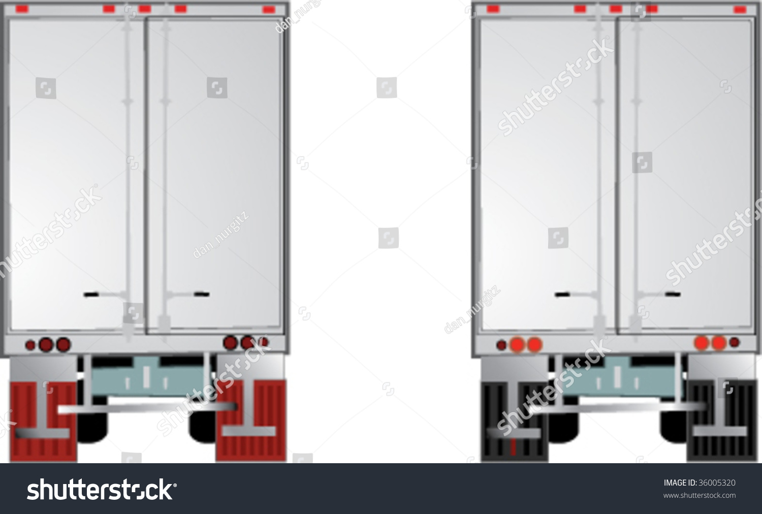 Tractor Trailer Rear View Stock Vector 36005320 Shutterstock
