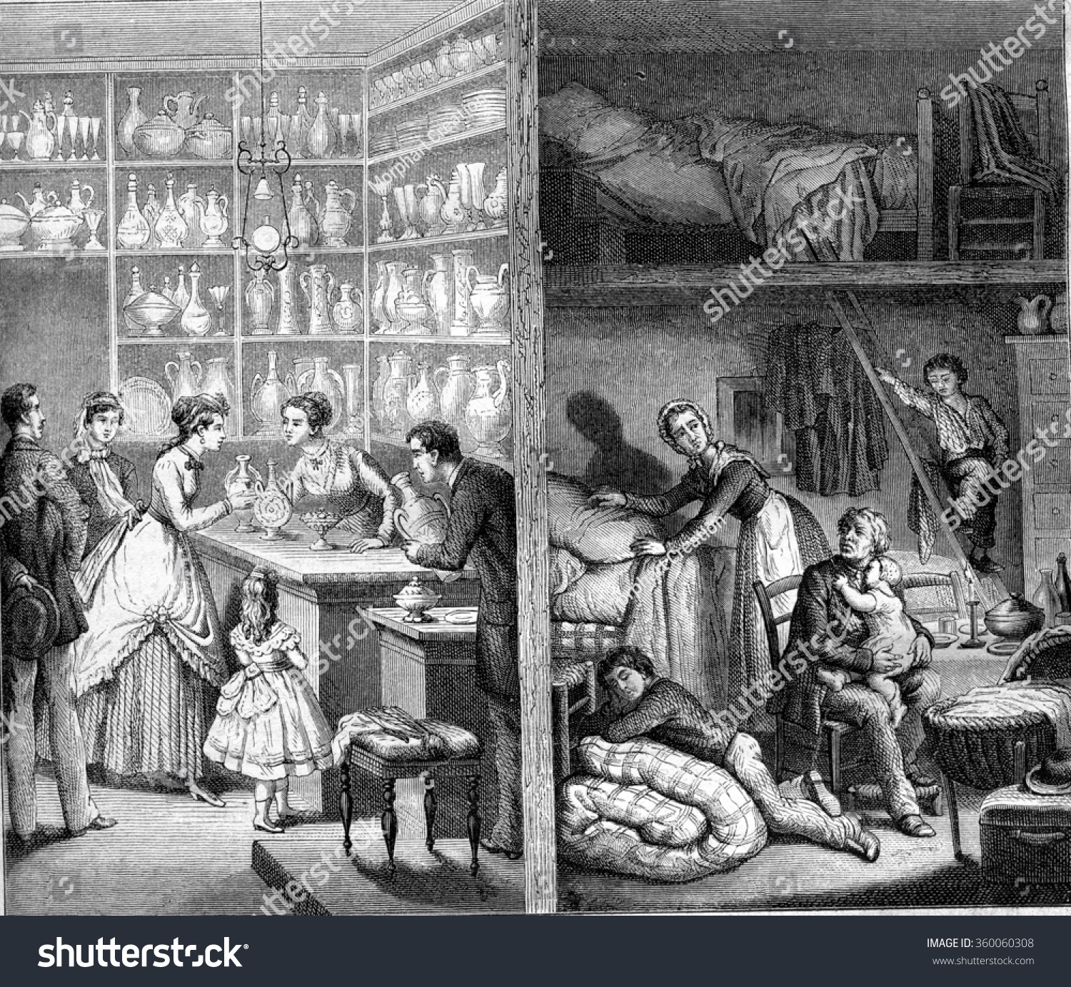shop back shop paris vintage engraved stock illustration 360060308 shutterstock. Black Bedroom Furniture Sets. Home Design Ideas