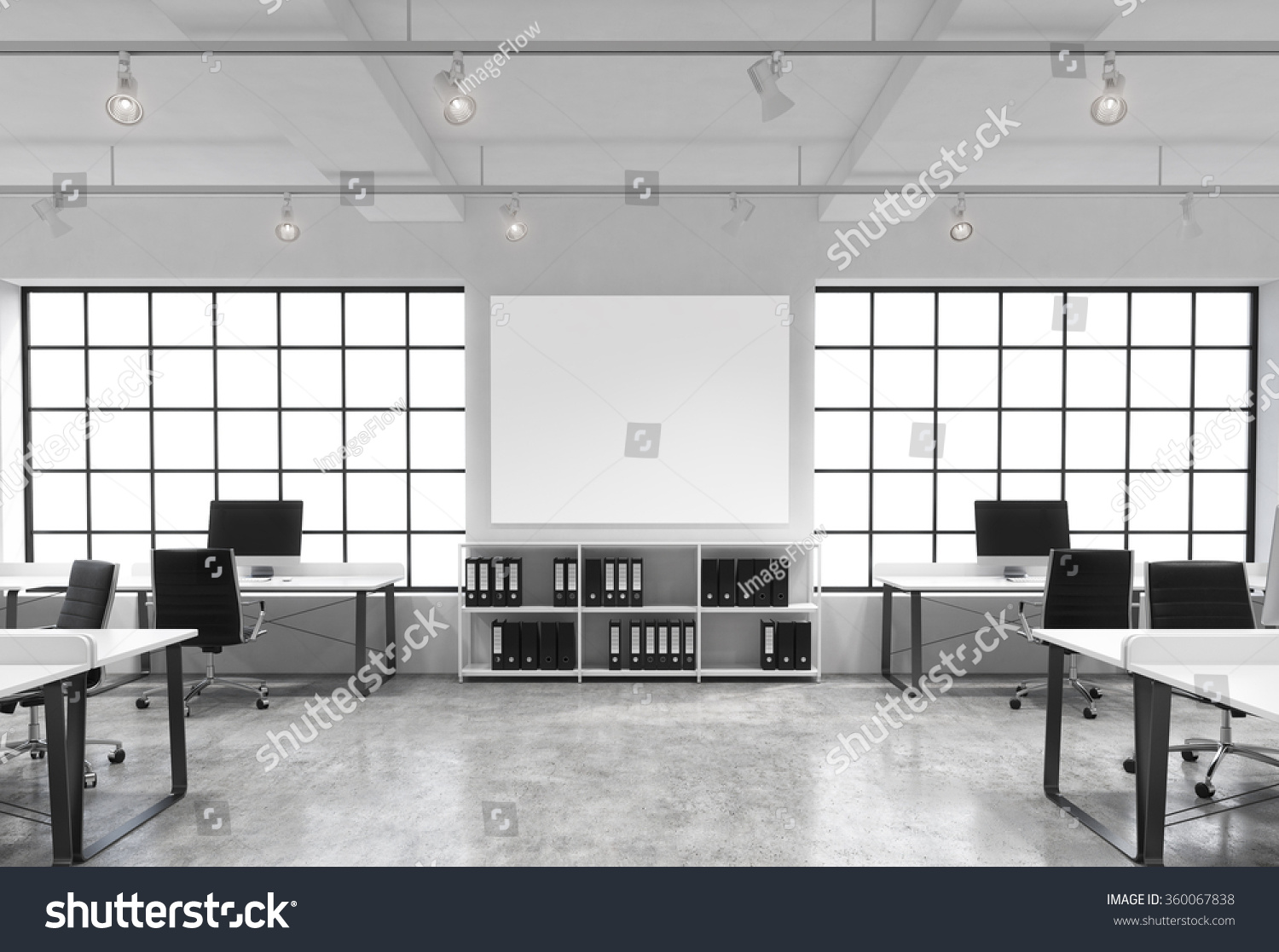 Royalty free open space office big windows tables for Bureau open space dimension