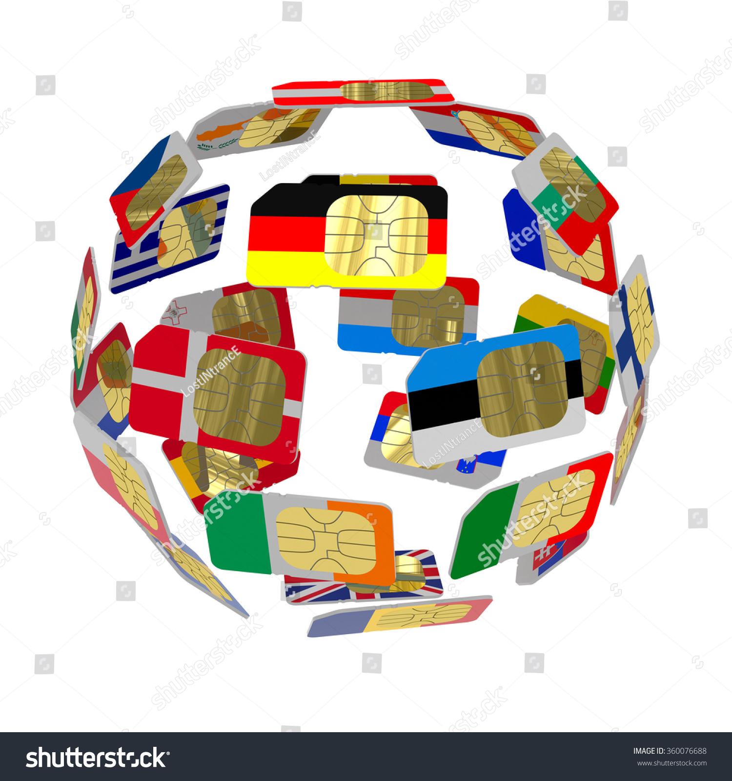 Sim Cards Form Flags European Union Stock Illustration 360076688