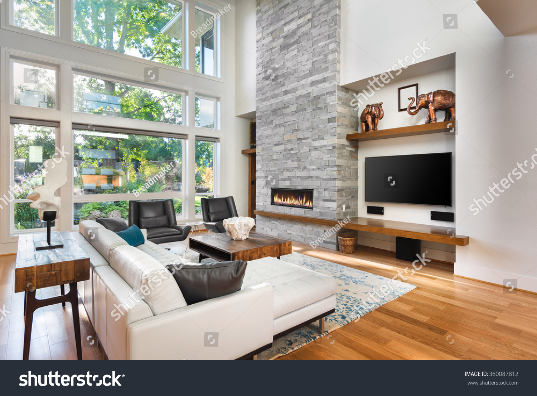 Beautiful Living Room Hardwood Floors Fireplace Stock