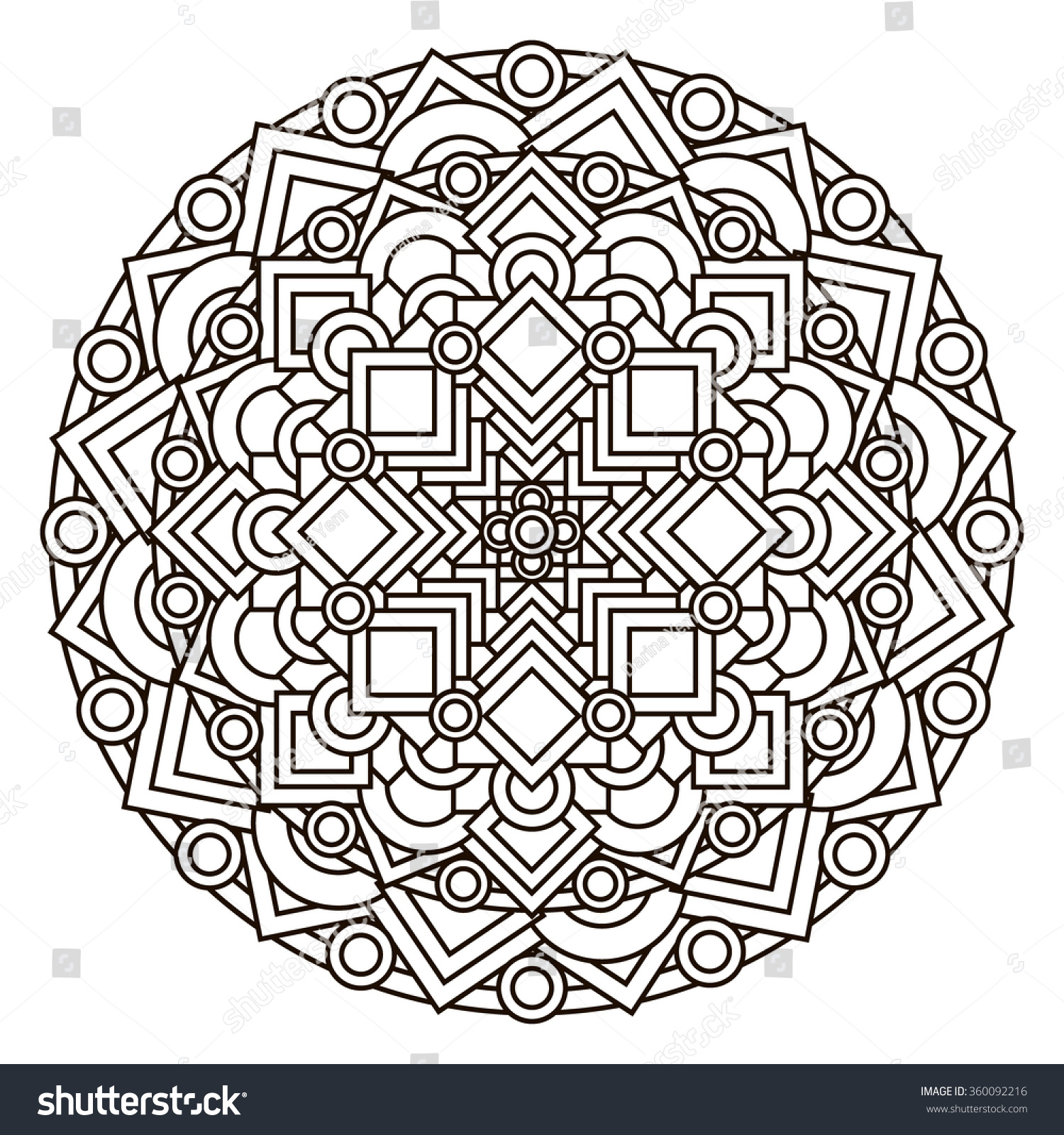 contour monochrome Mandala ethnic religious design element with a circular pattern Anti-paint for adults Vector illustration
