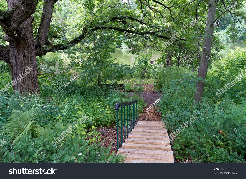 backyard landscape stairs leading pond mature stock photo