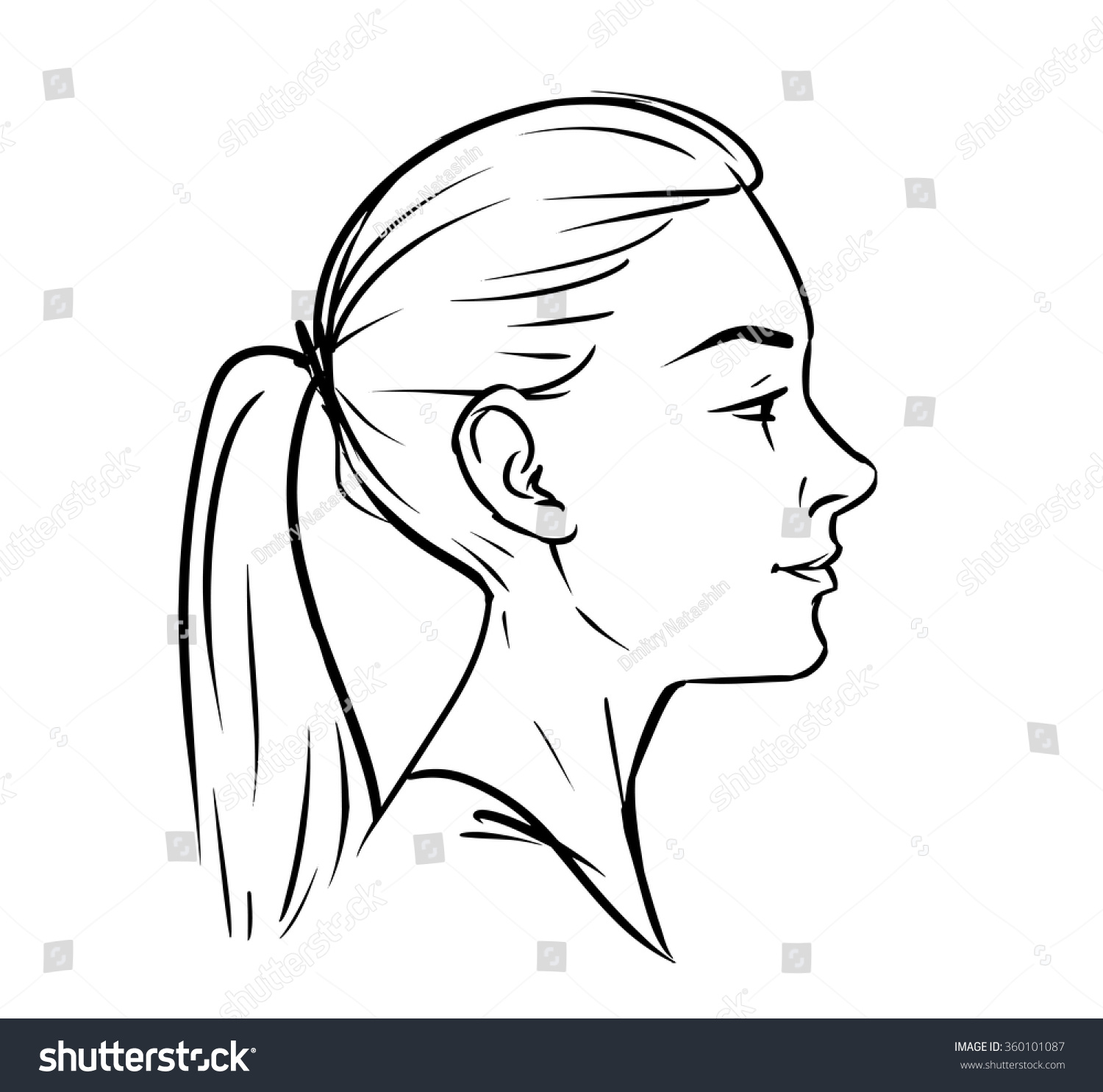 Side Face Line Drawing : Young woman face side drawing vector stock