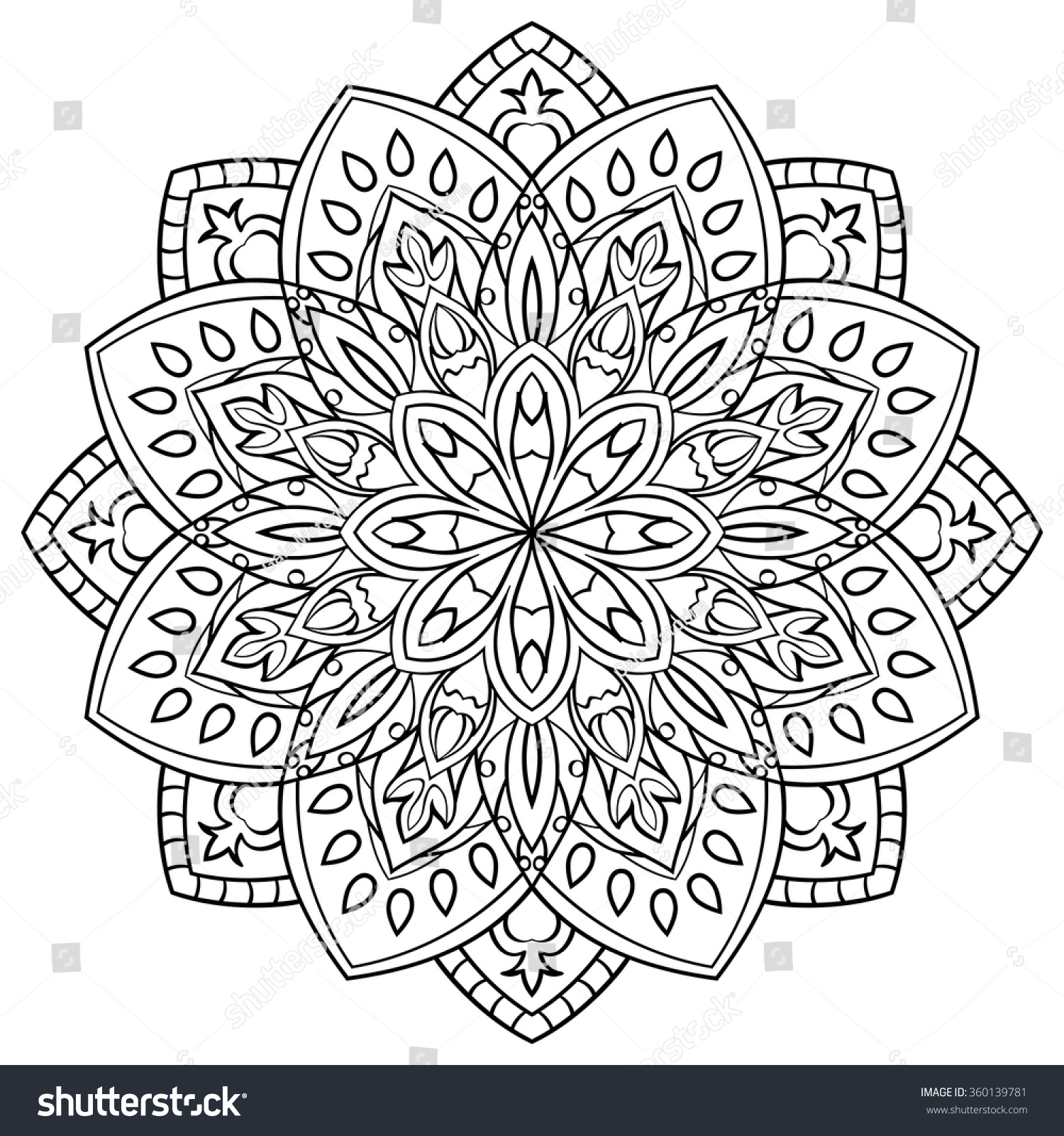Simple Contour Mandala On White Background Stock Vector ... | 1500 x 1600 jpeg 723kB