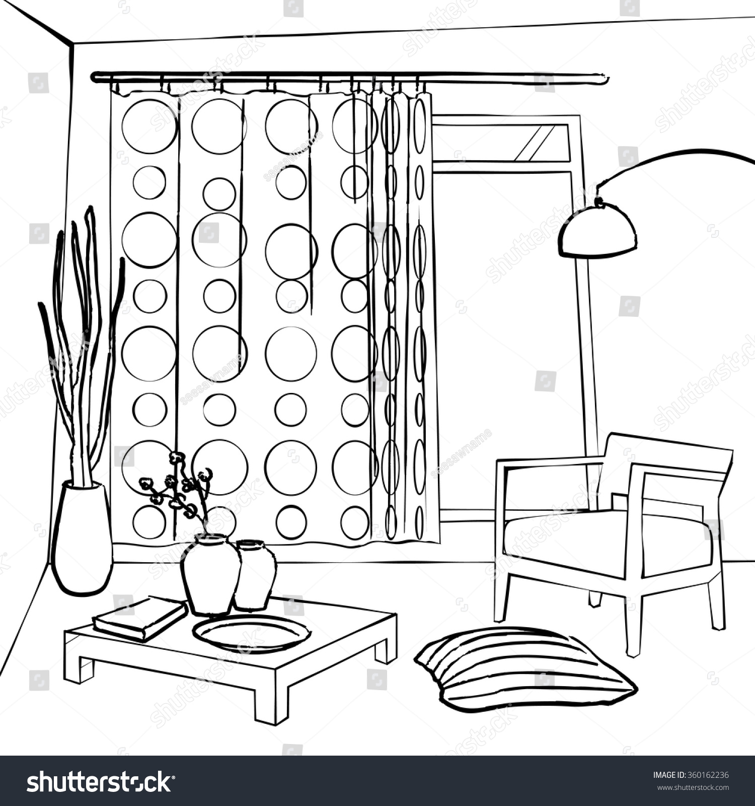 Dining Room Curtains Simple Interior Sketch Stock Vector ...