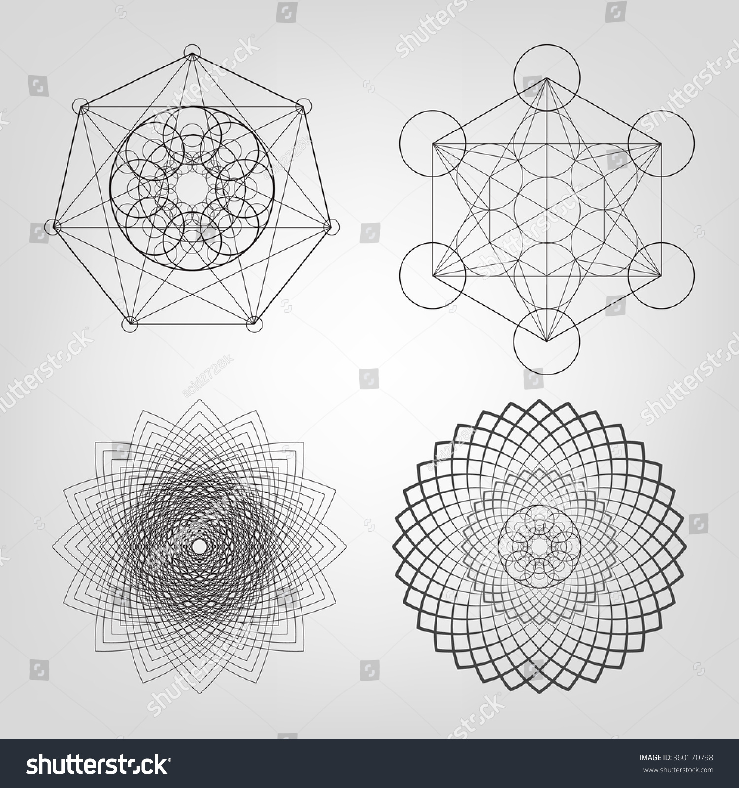 Sacred Geometry Vector Illustration Stock Vector 360170798 ...