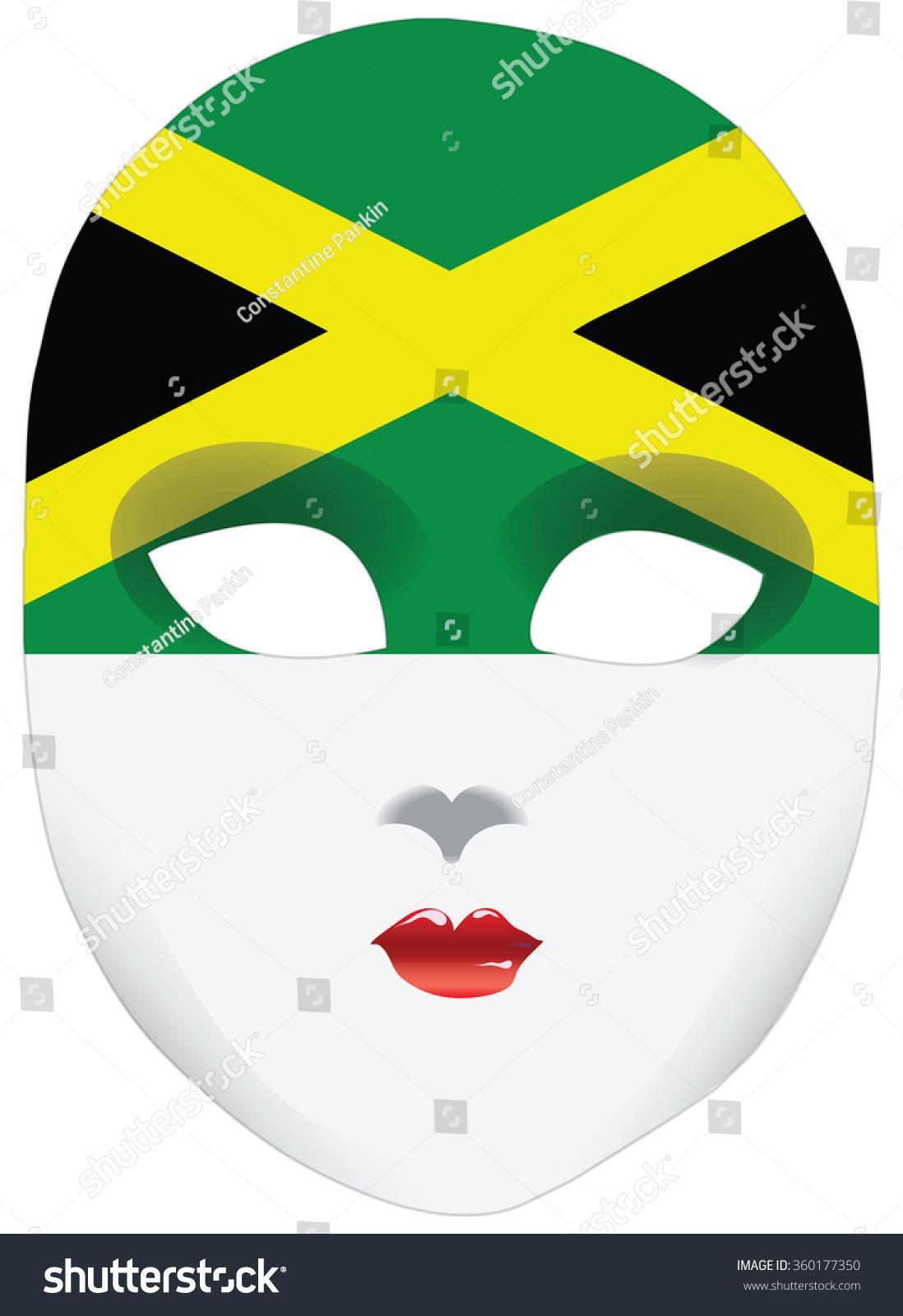 Classic Mask Symbols Statehood Jamaica Vector Stock Vector Royalty