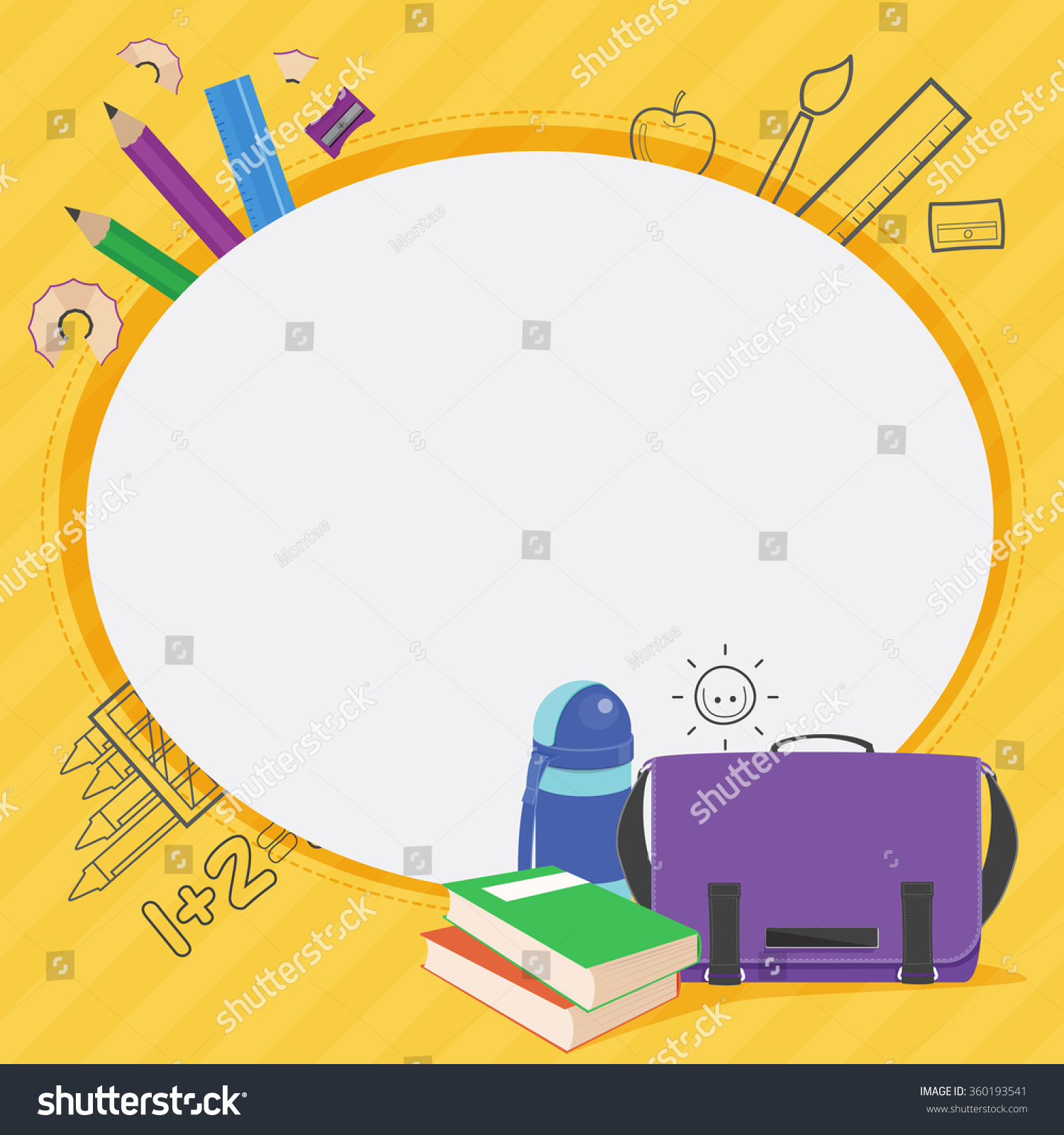 School bag diagram - Vector School Kid Frame Design School Bag Place For Text