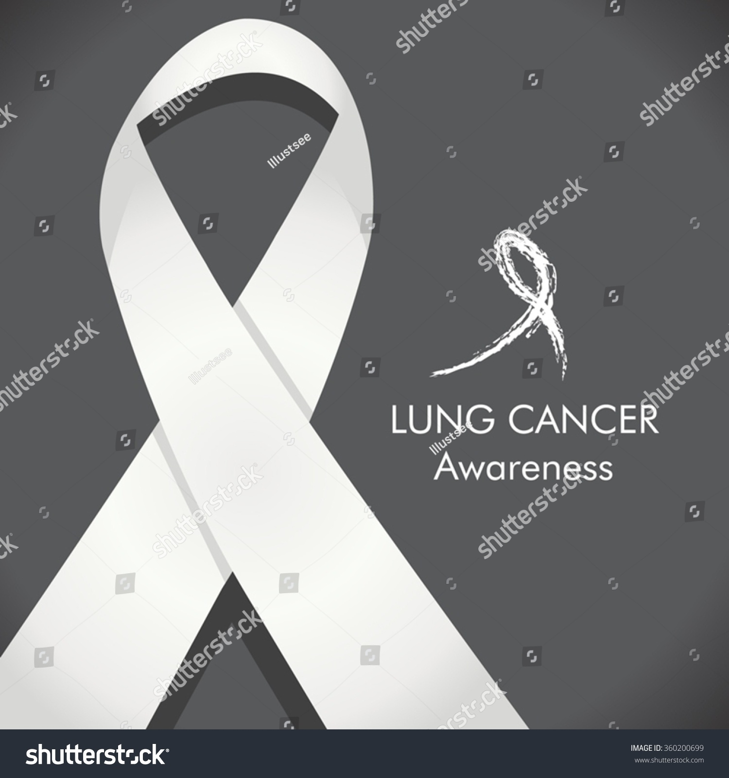 Lung Cancer Awareness White Pearlclear Ribbon Stock Vector Hd