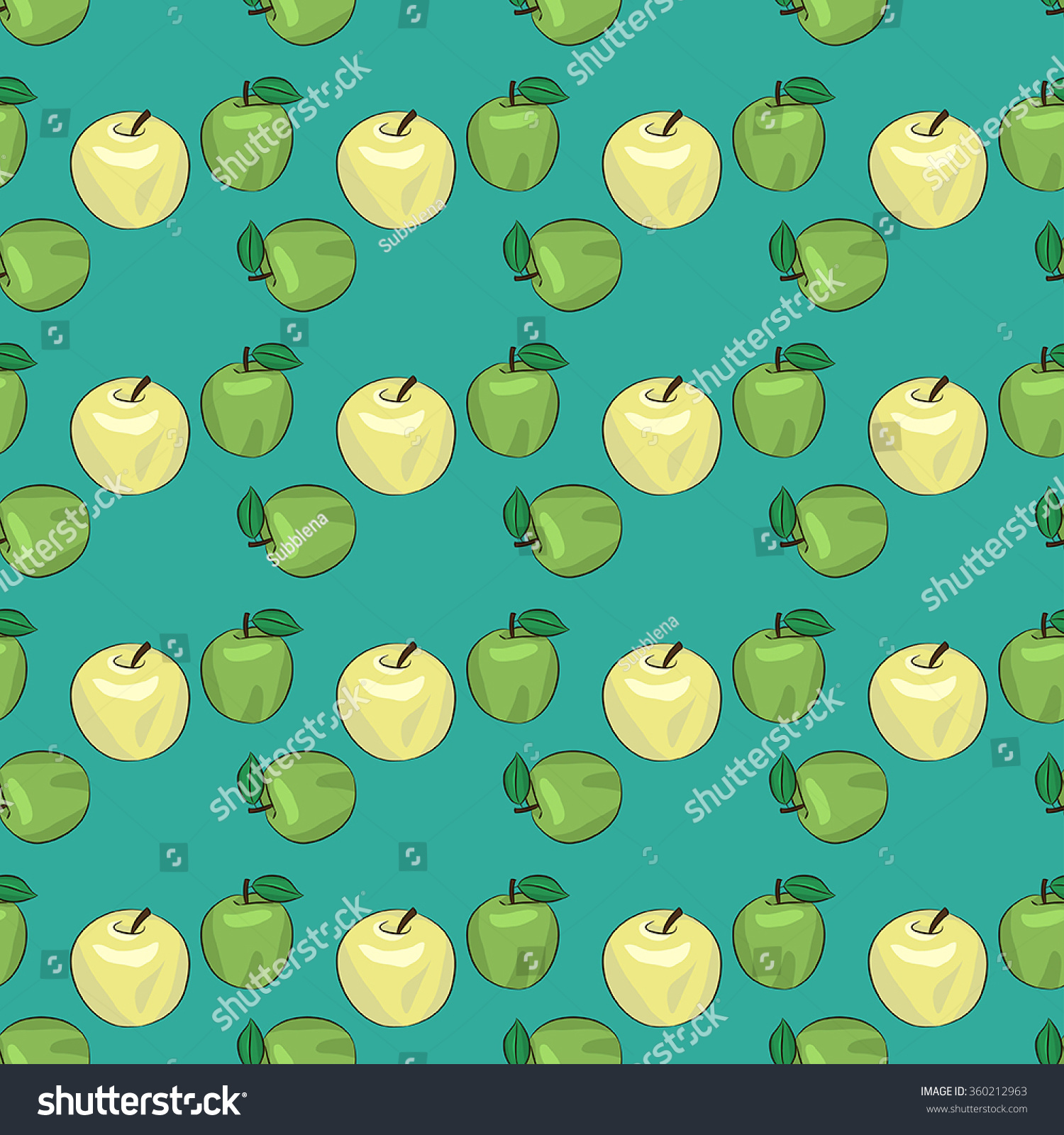 Seamless Vector Pattern With Apples Green Background