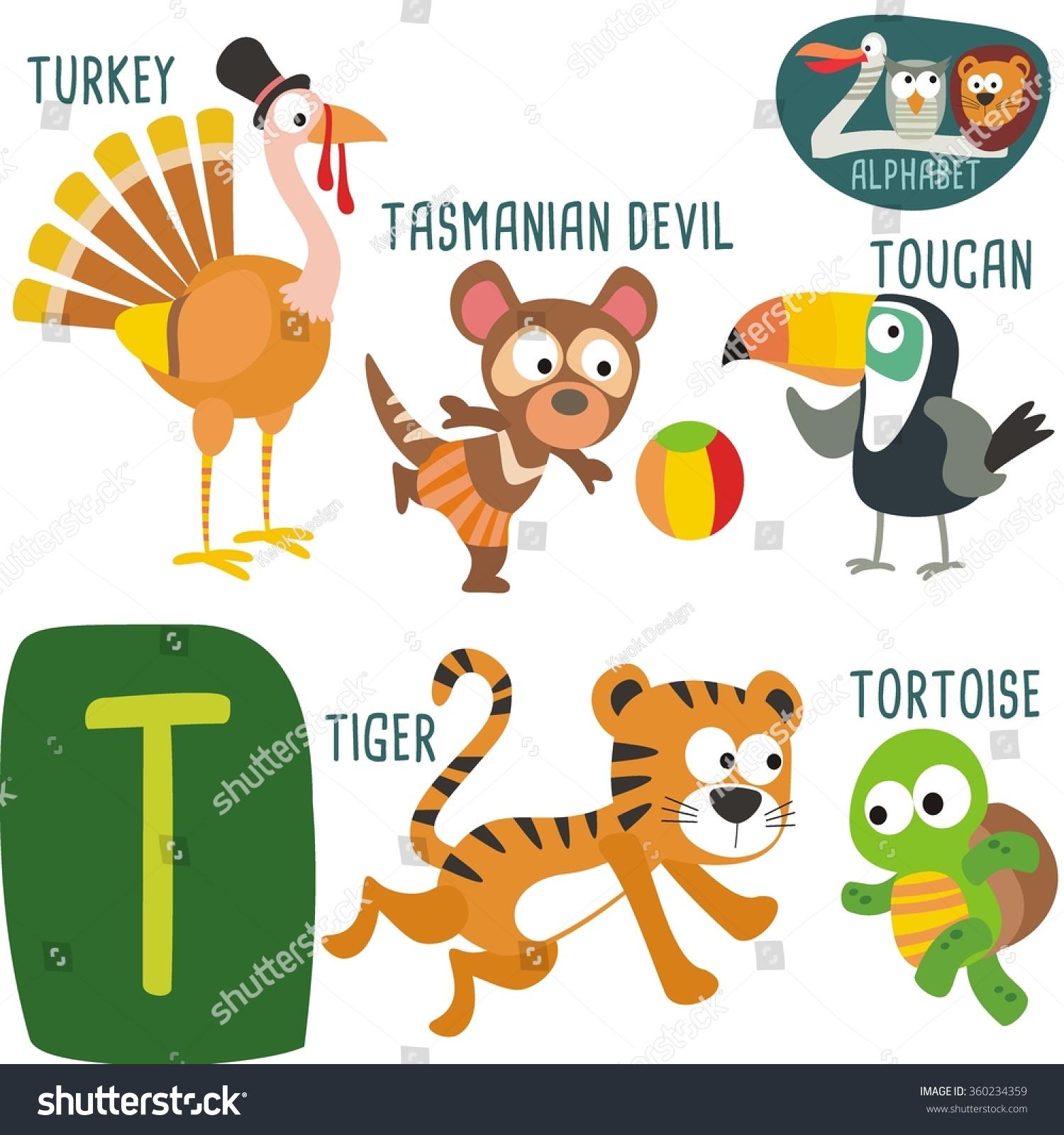 Cute Zoo Alphabet Vectort Letter Funny Stock Vector