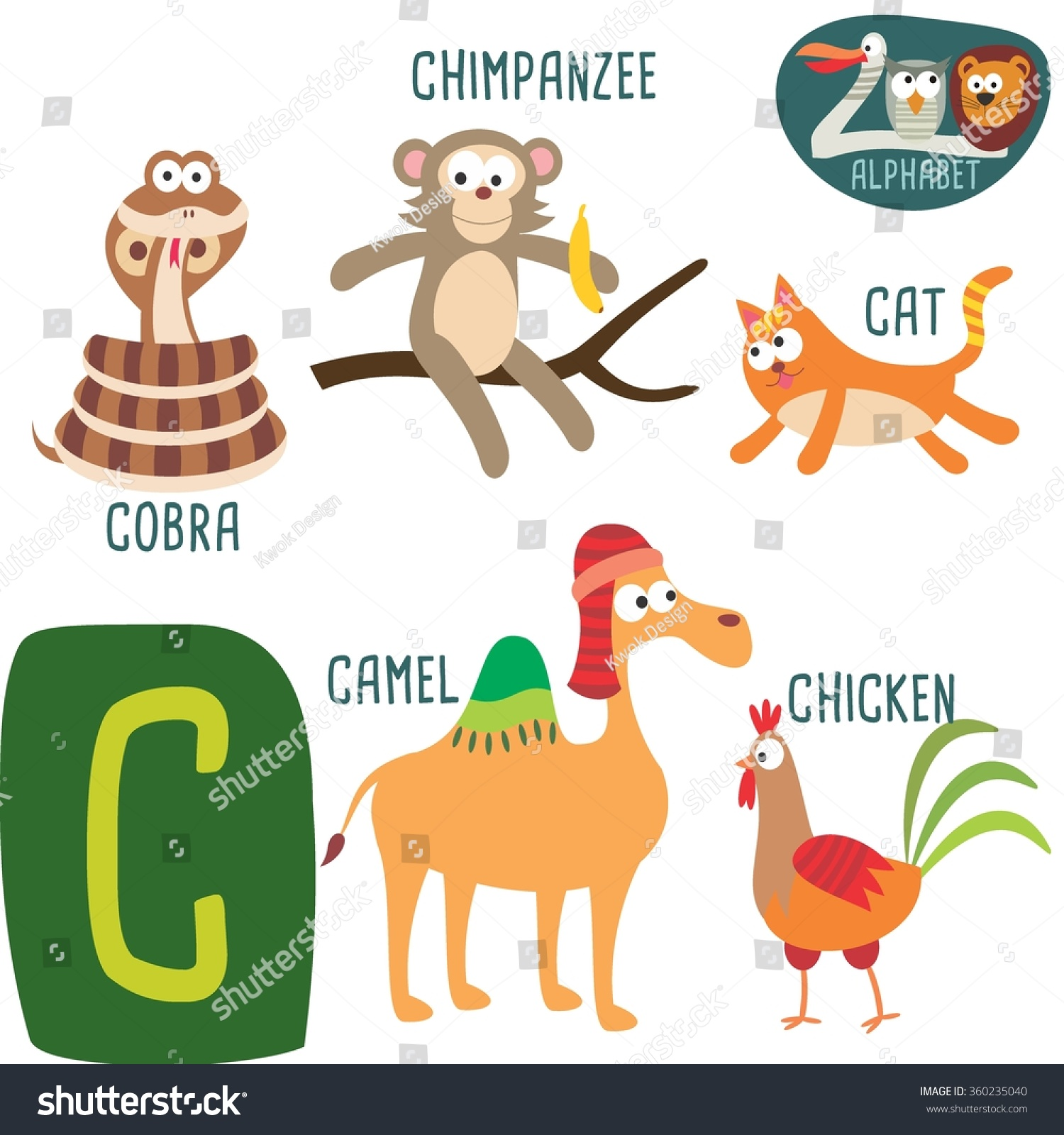 cute zoo alphabet vectorc letter funny stock vector 360235040