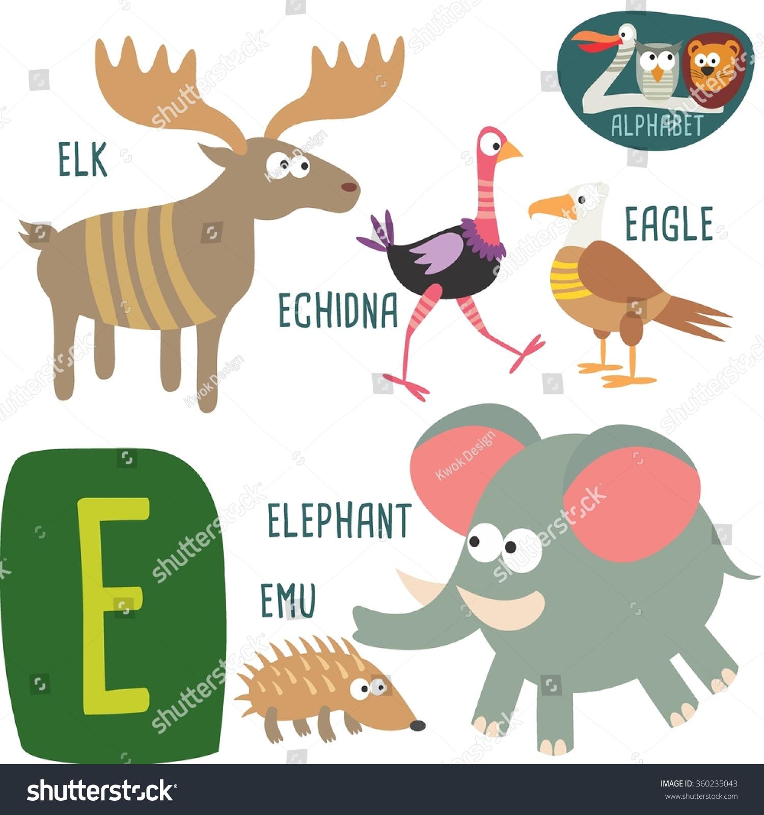 Cute Zoo Alphabet Vector E Letter Funny Stock Vector (Royalty Free