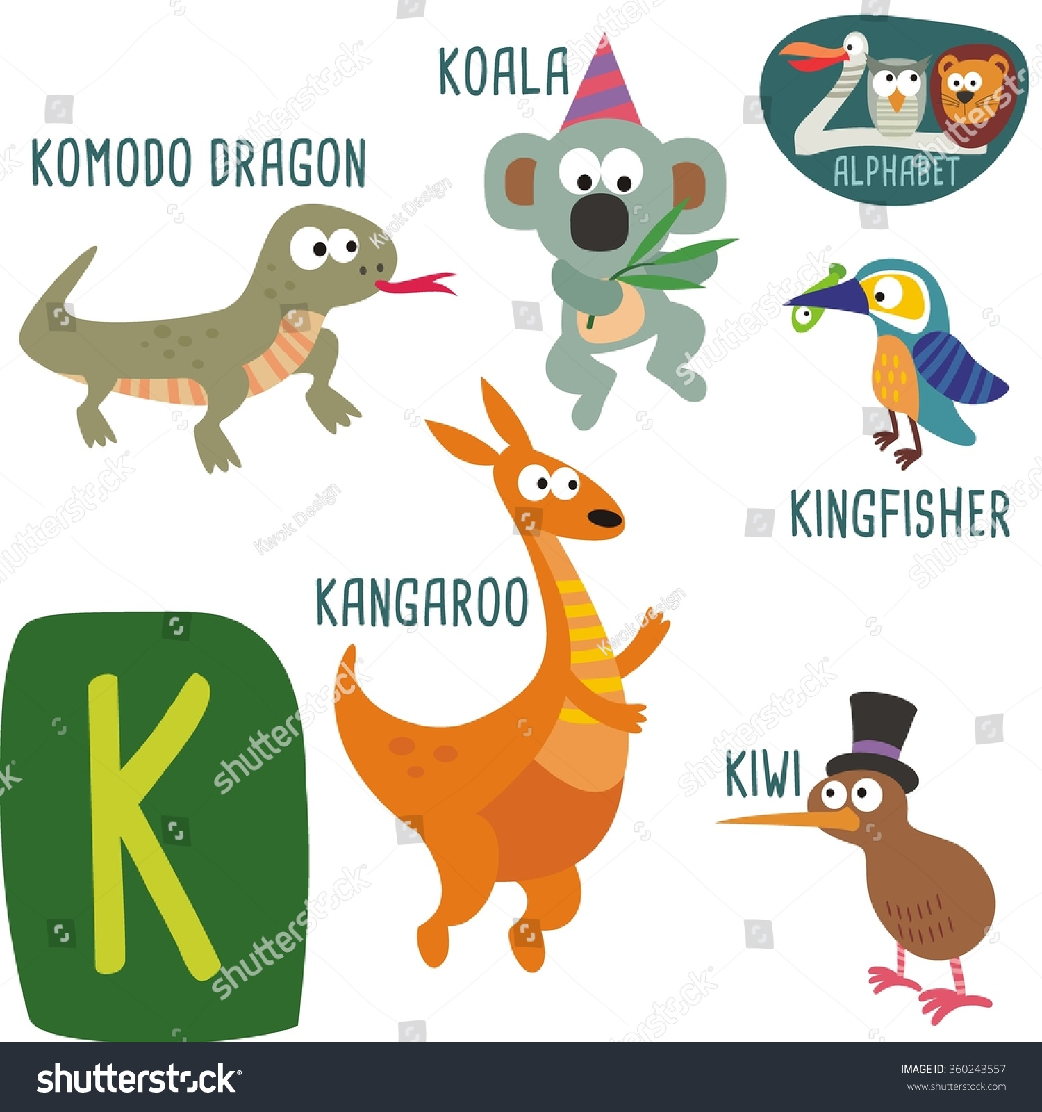 cute zoo alphabet vector k letter stock vector 360243557