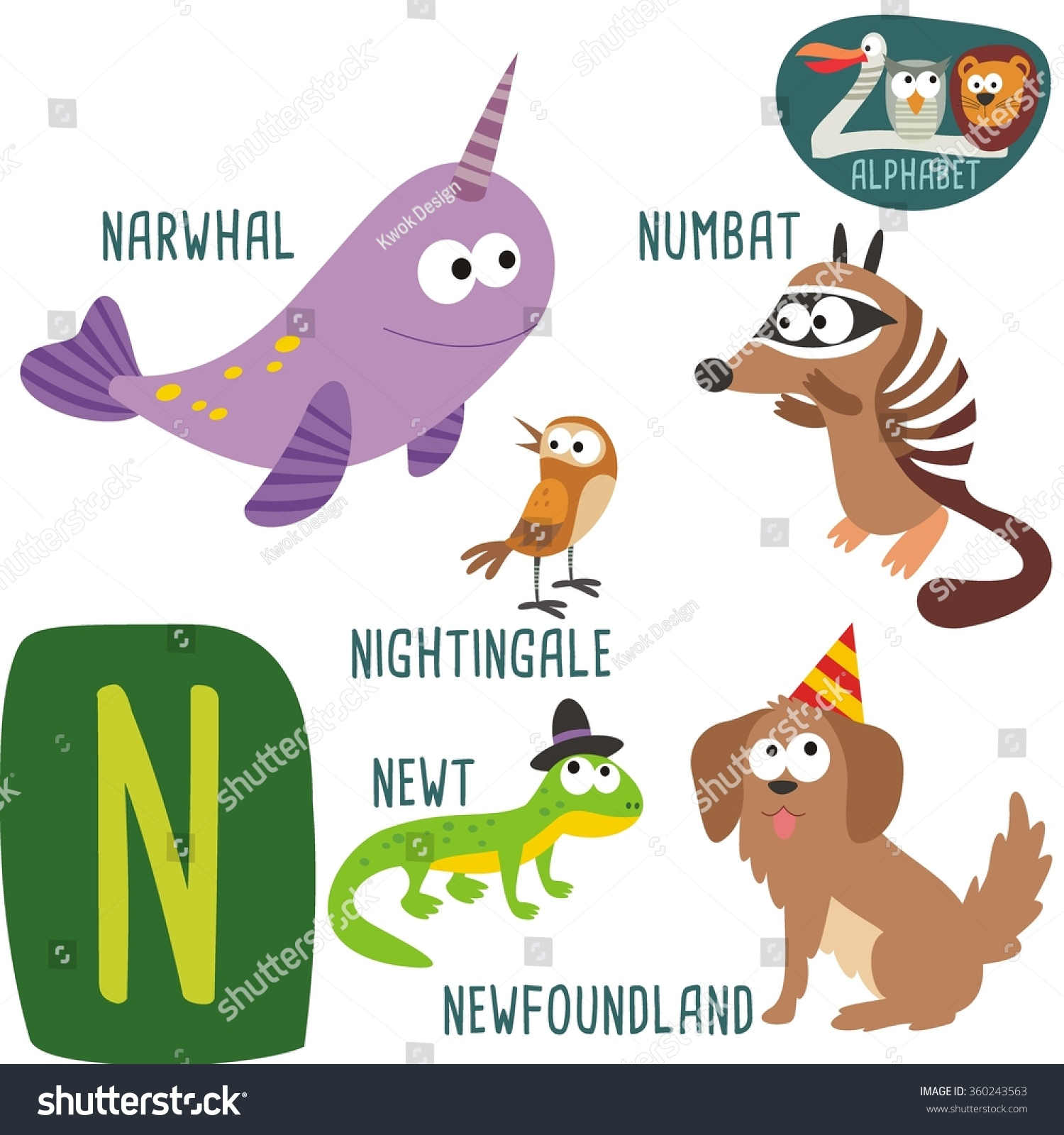 Cute Zoo Alphabet Vector N Letter Stock Vector (Royalty Free