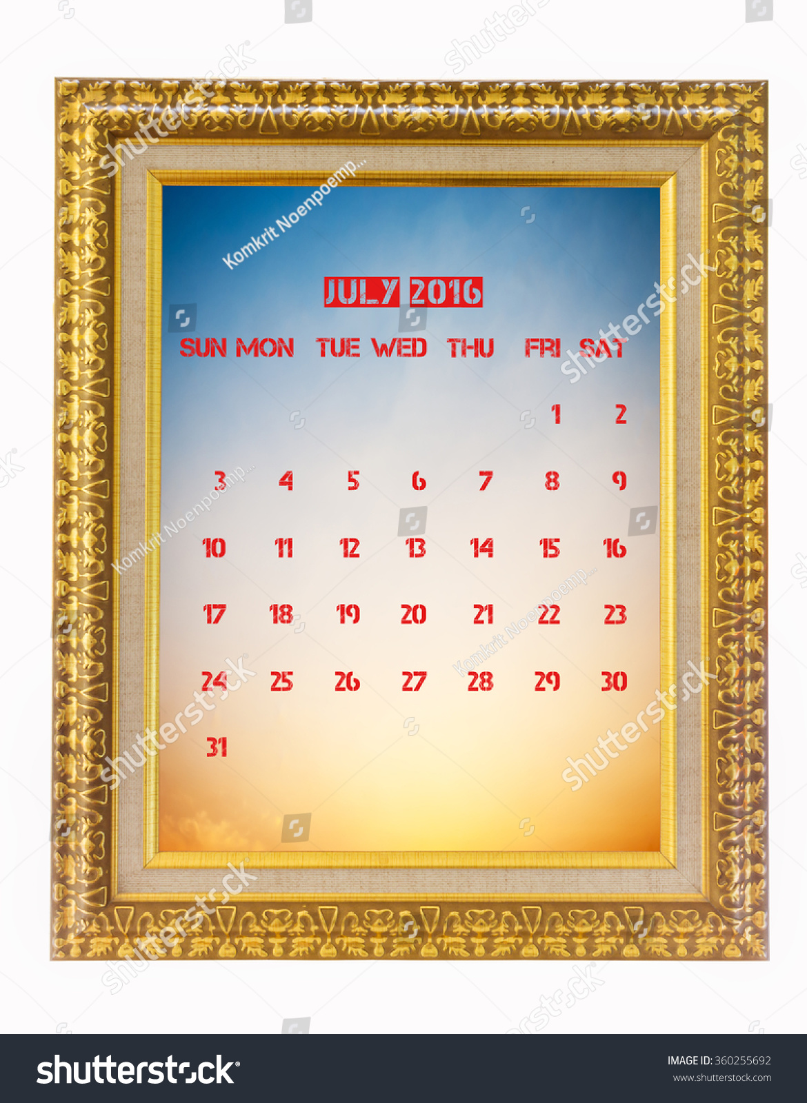 royalty free july 2016 calendar on photo frame 360255692 stock