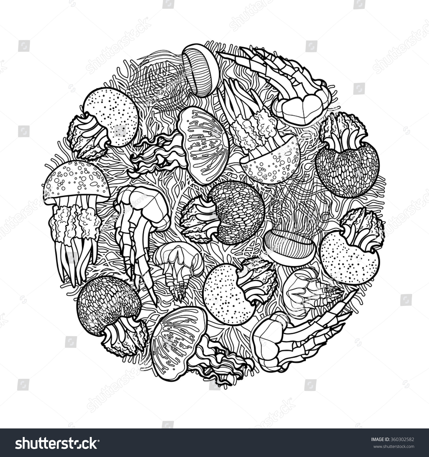 Coloring pages jellyfish - Swirl Of Jellyfish Drawn In Line Art Style Ocean Card In Black And White Colors