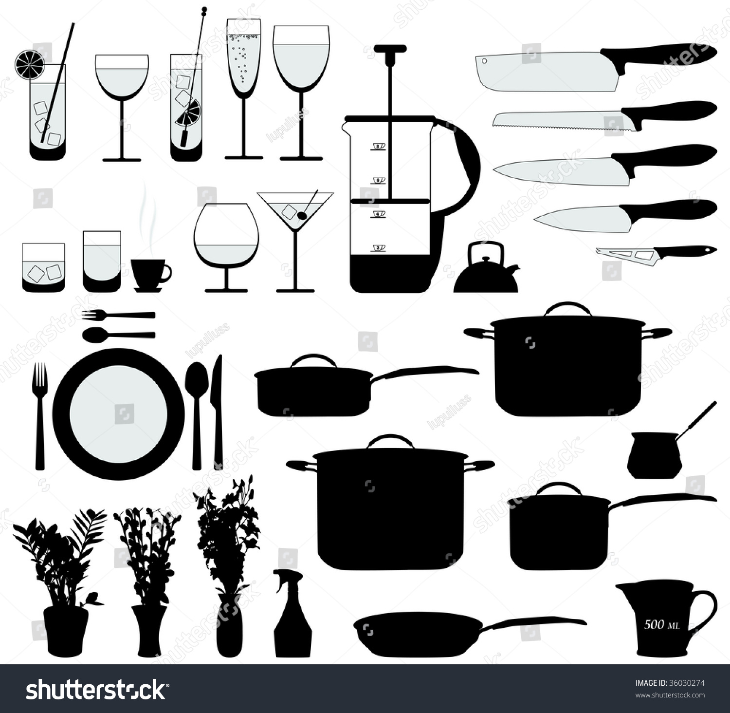 dishes pan mixer other kitchen objects stock vector 36030274