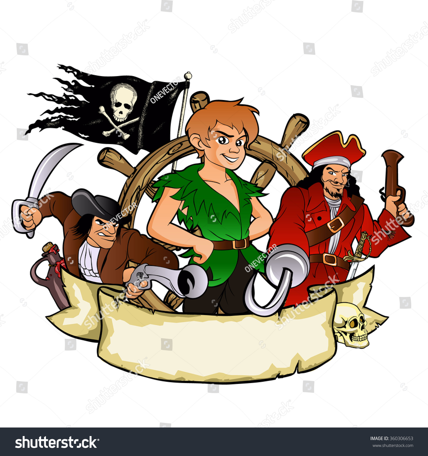 Peter Pan Pirates Emblem Stock Vector 360306653 - Shutterstock