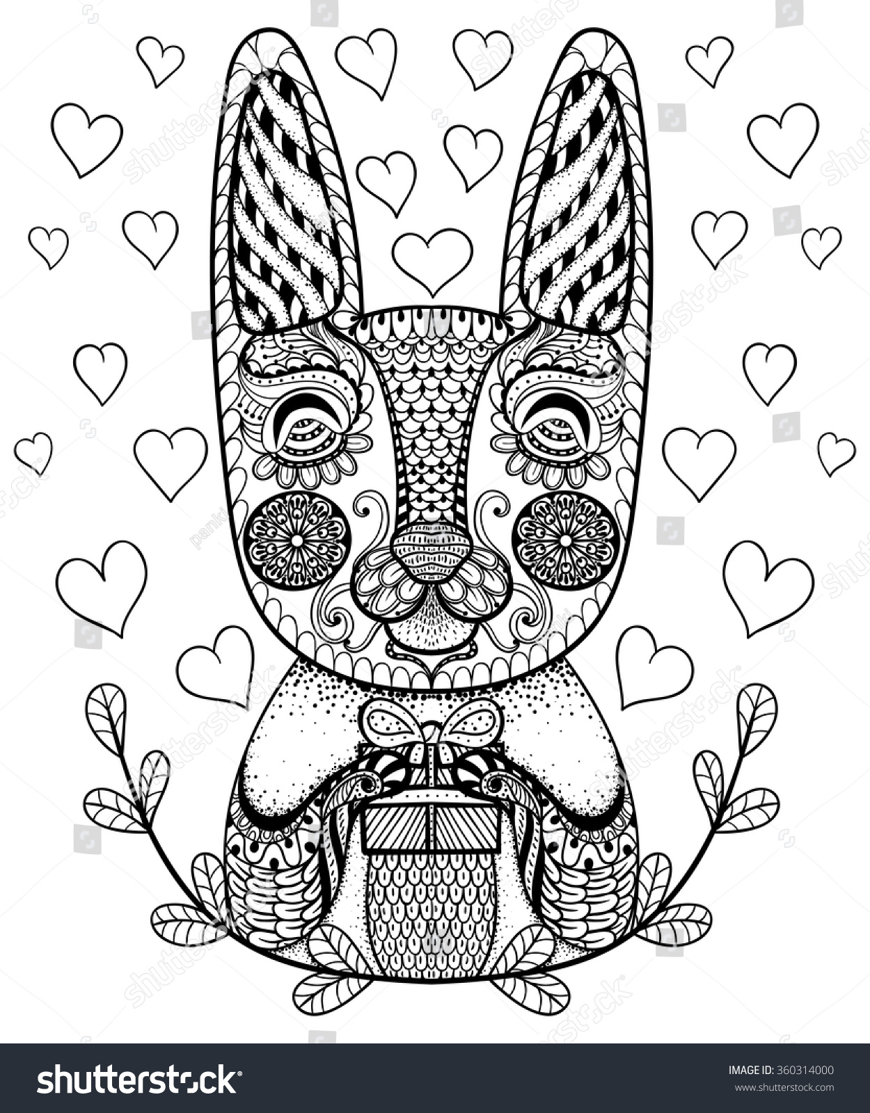 Hand drawn easter rabbit gift hearts stock vector 360314000 hand drawn easter rabbit with gift and hearts in doodle patterned bunny in zentangle tribal negle Gallery