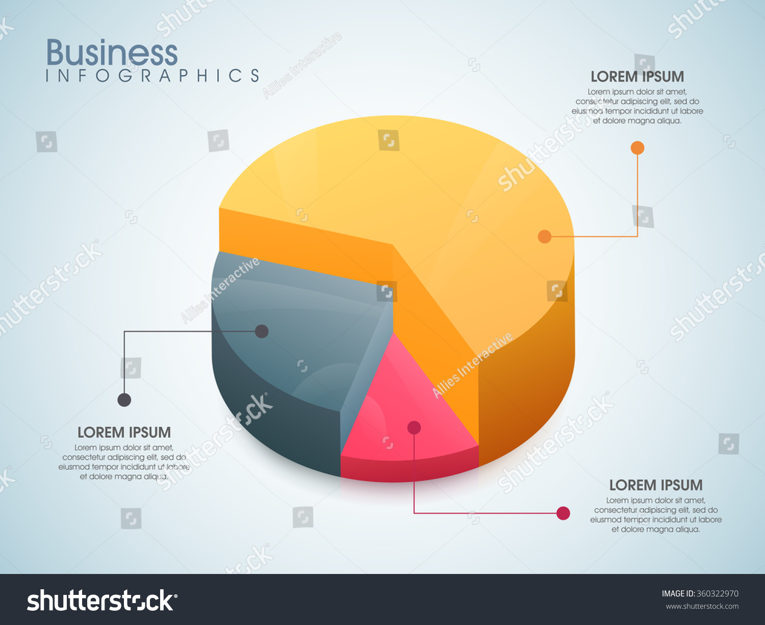 Creative colorful 3d pie chart your stock vector 360322970 creative colorful 3d pie chart for your business reports and financial data presentation geenschuldenfo Image collections