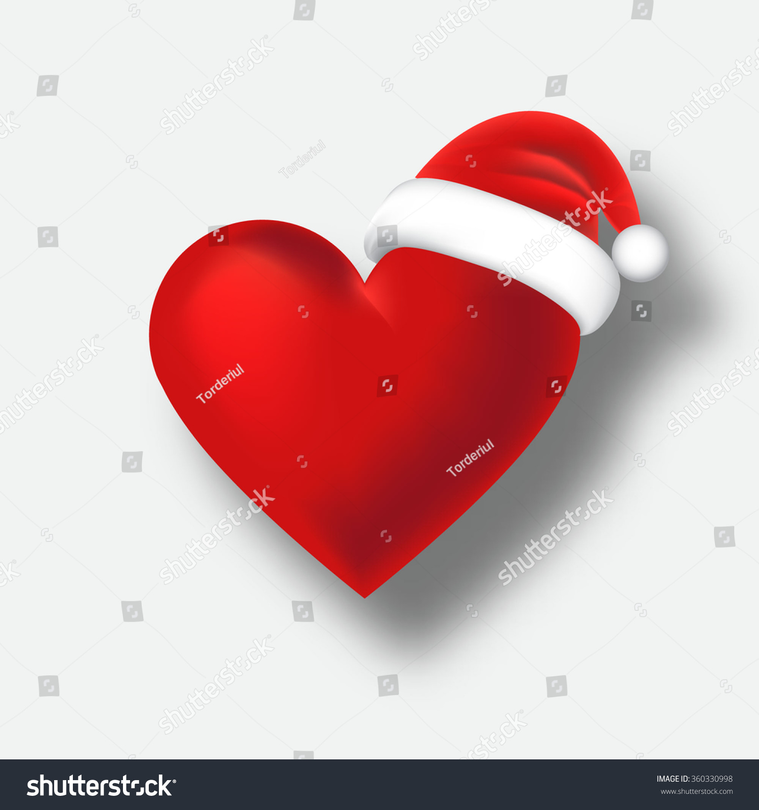 St Valentines Day And Christmas Santa Hat Heart With Shadow Retro Vector  Greeting Card