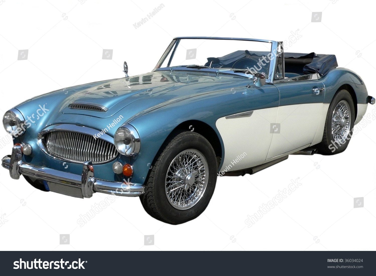 Classic Blue White Sports Car Isolated Stock Photo