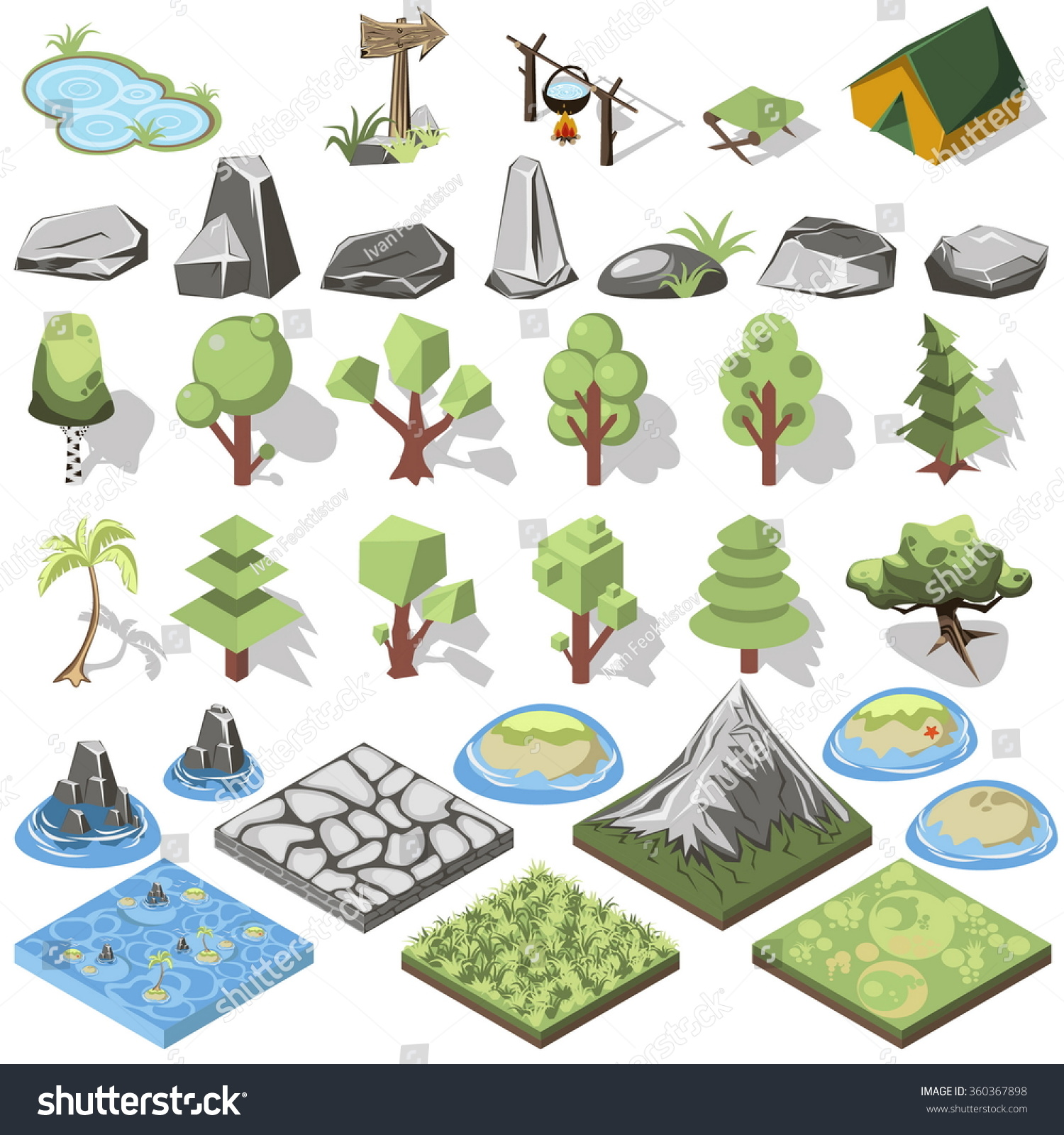 More similar stock images of 3d landscape with fall tree - Isometric 3d Forest Camping Elements For Landscape Design Tent And Camp Tree Rock
