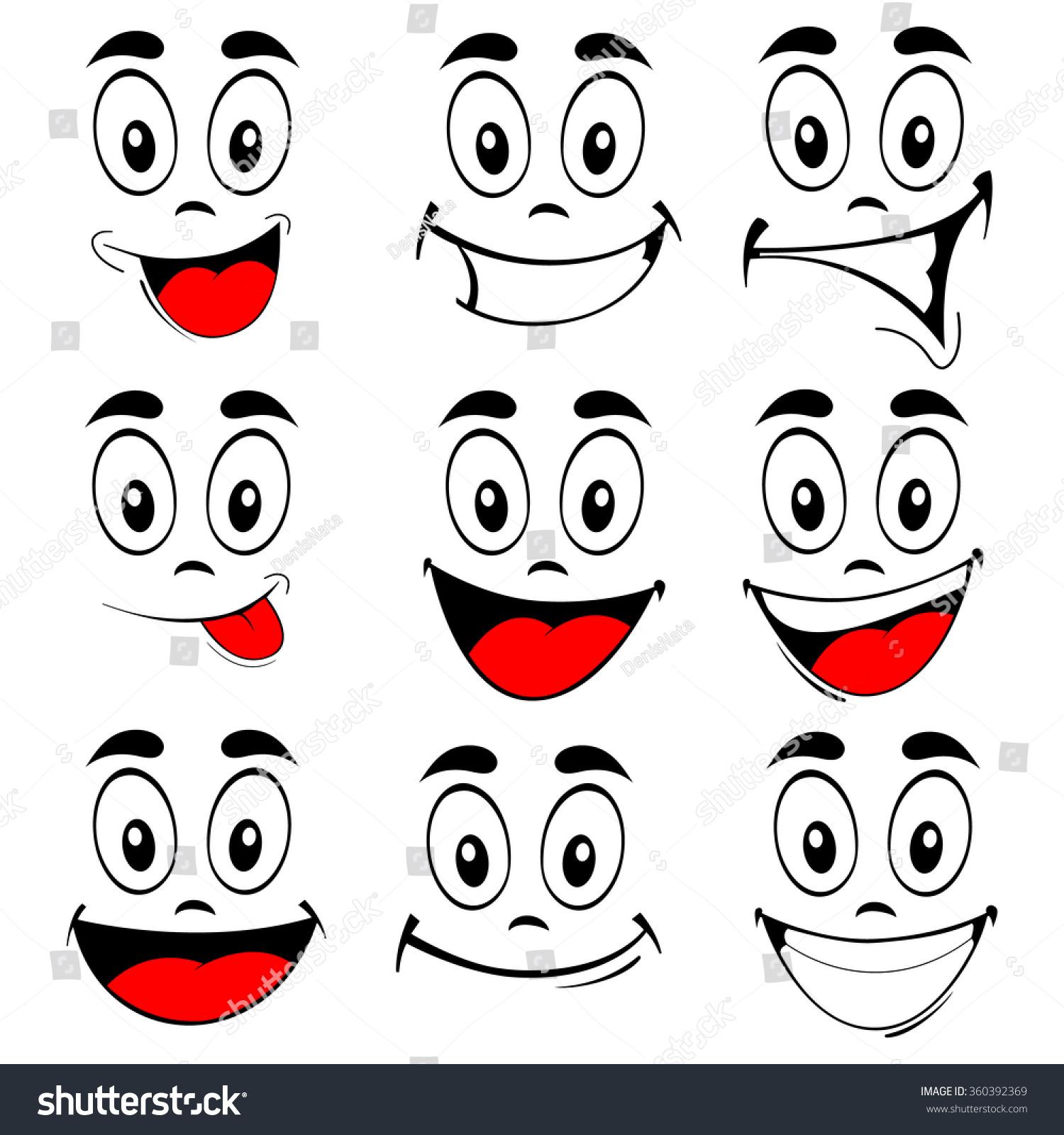 Vector Illustration Set Smiling Cartoon Faces Stock Vector