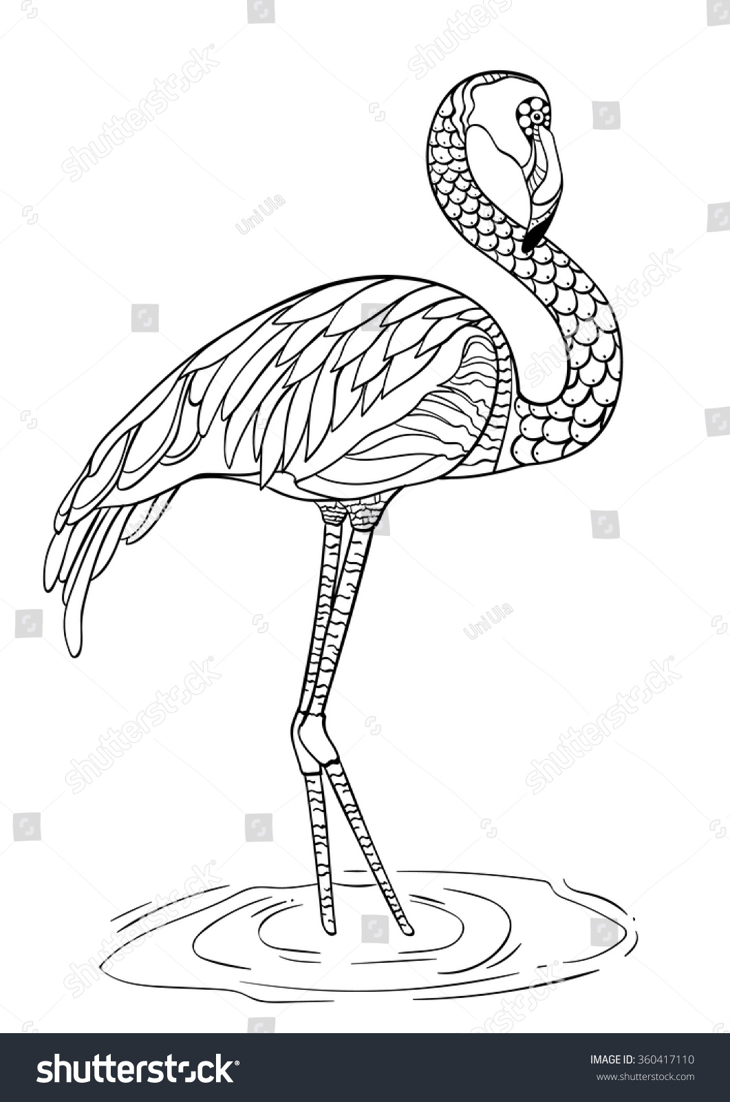 Coloring sheets for adults flamingo - Coloring Book Page Flamingo Hand Drawn Vector Illustration Decorative Ornamental Doodle