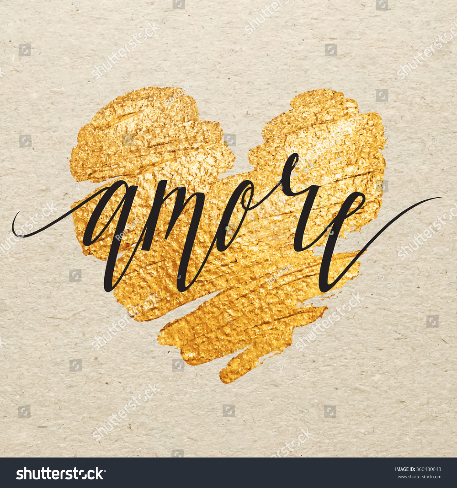 Italian Valentines Day Card Amore Calligraphy Stock Vector