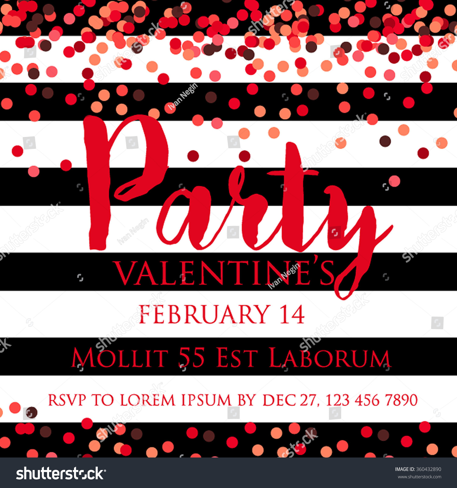 Valentines Party Invitation Confetti Sequins Stock Vector 360432890 ...