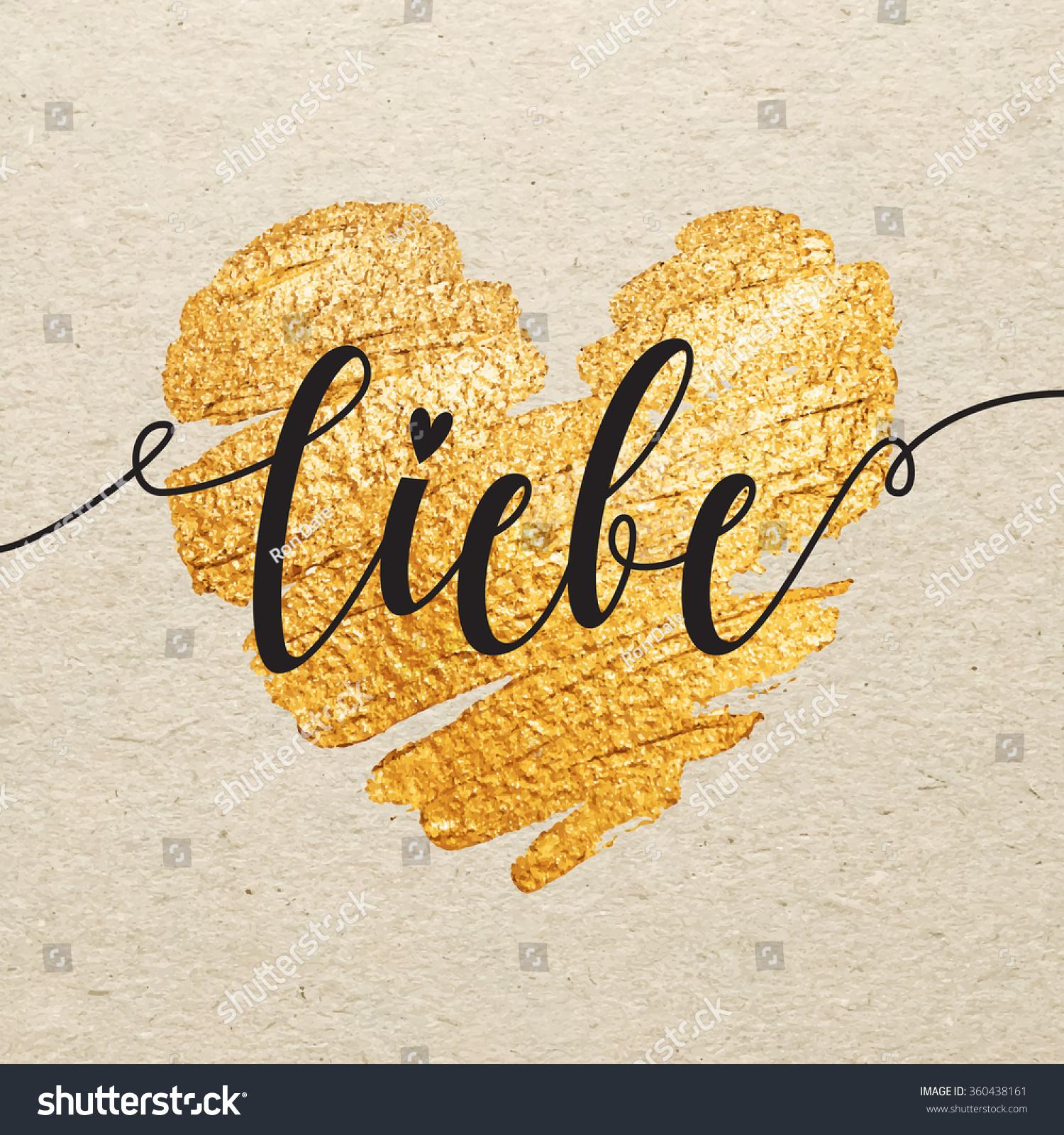 German Valentines Day Card Liebe Calligraphy Vector – German Valentines Day Cards