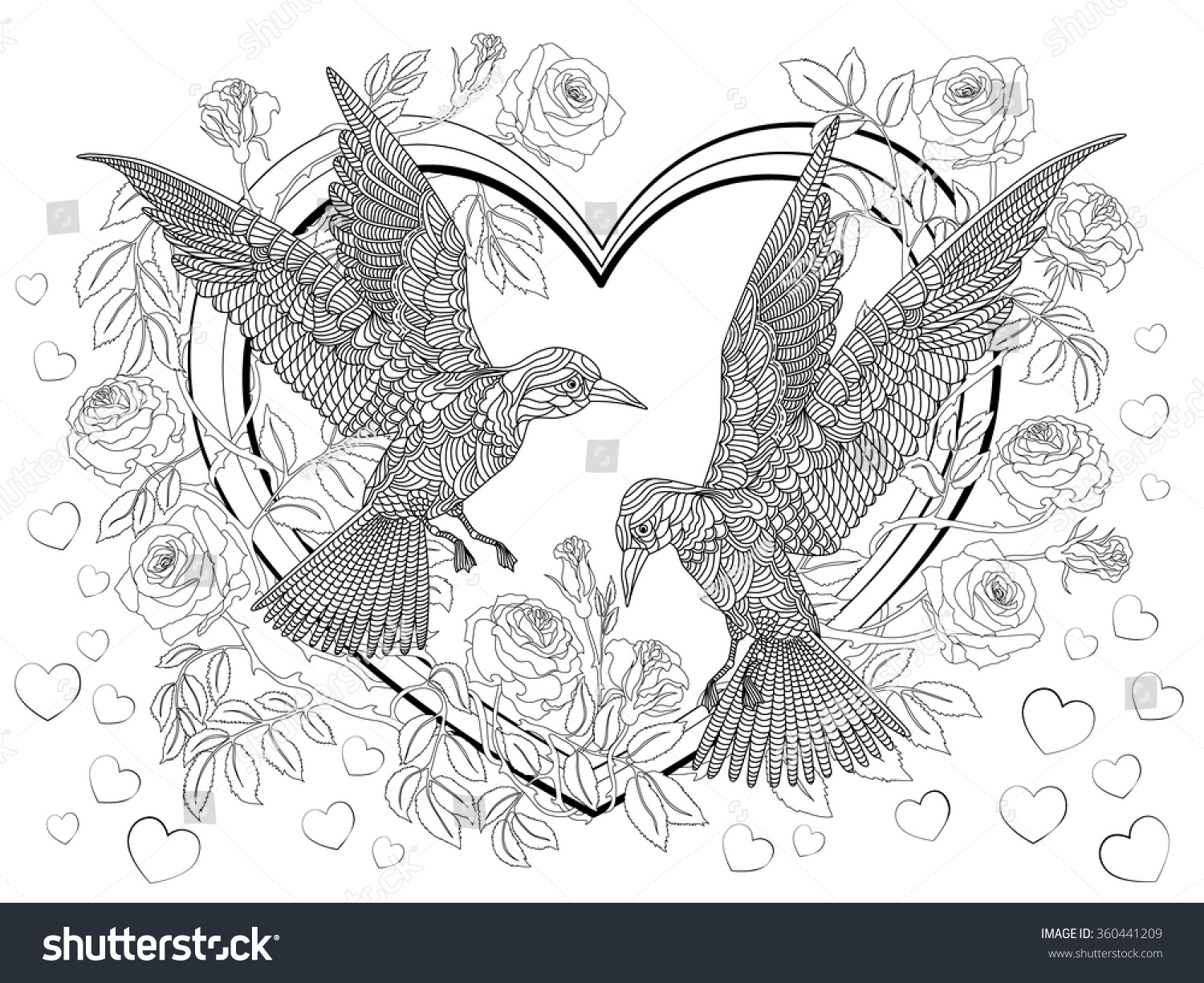 Hand Drawn Birds On Hearts Branches Stock Vector 360441209 ...